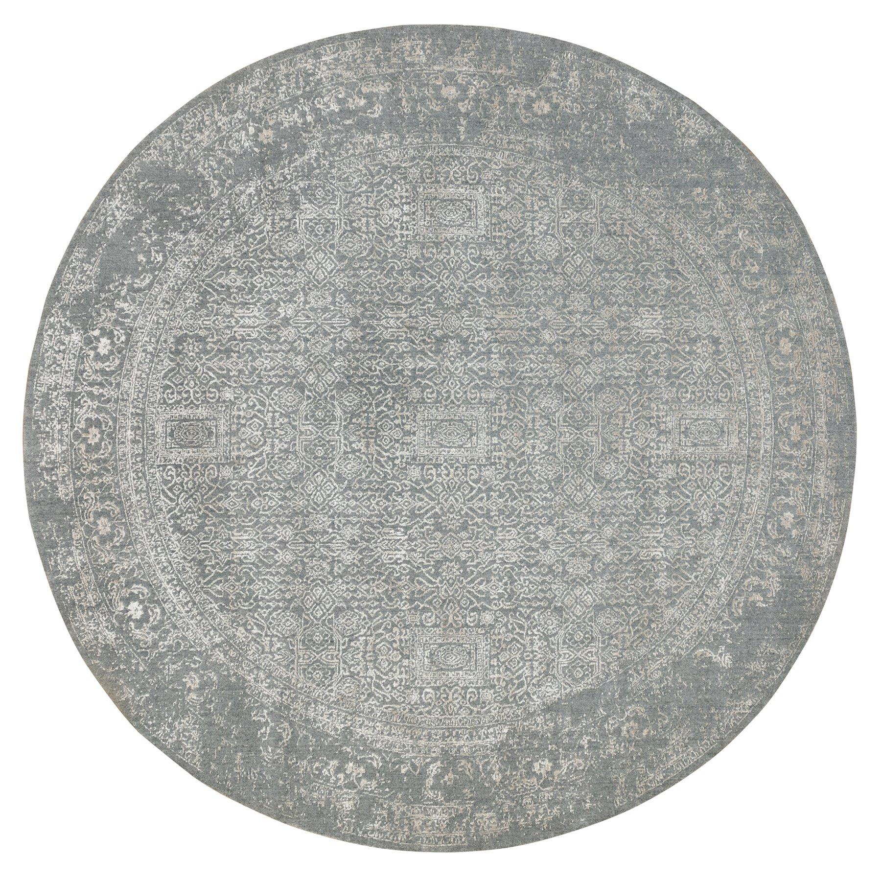 10'x10' Gray Fine jacquard Tone on Tone Hand Loomed Modern Wool and Art Silk Round Oriental Rug