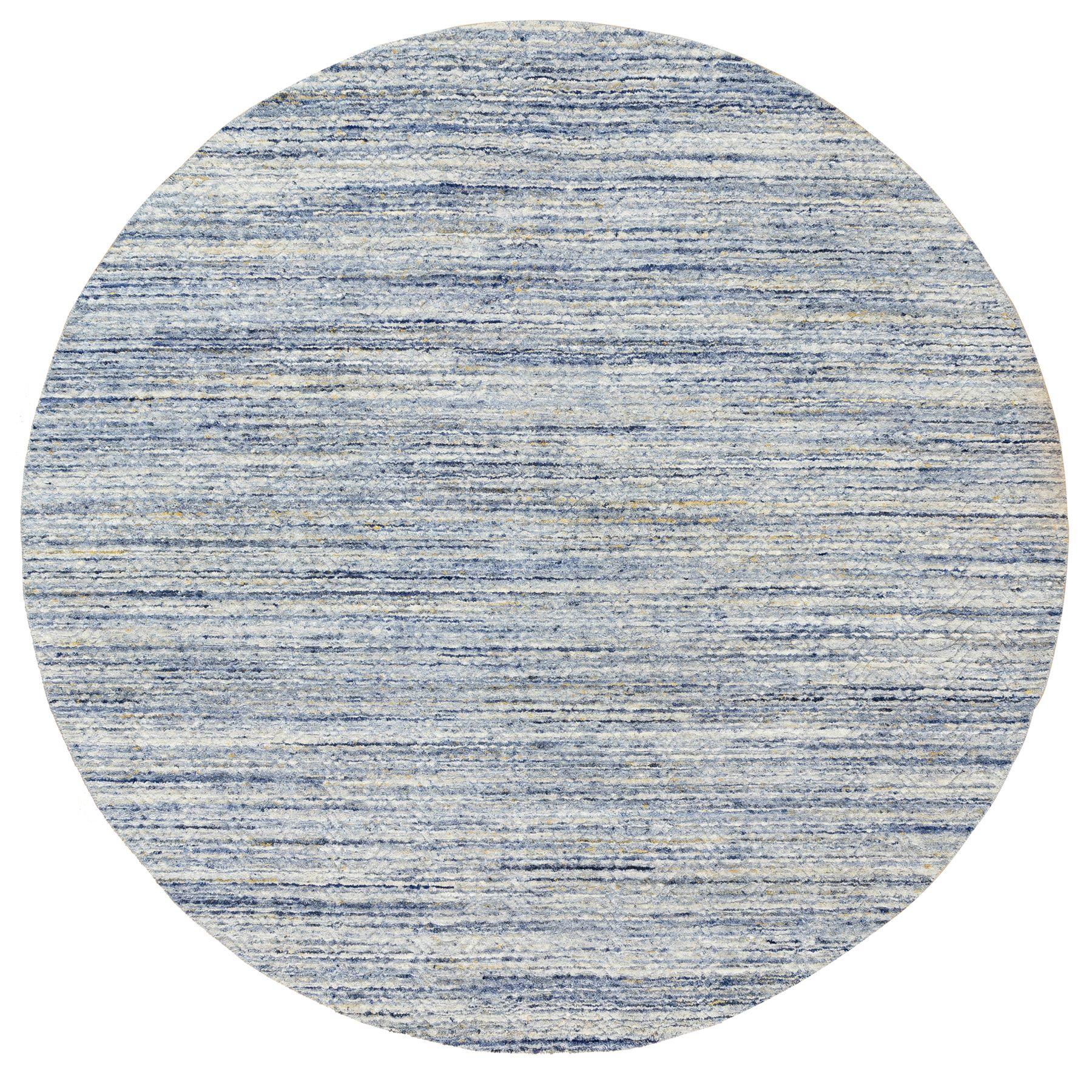 "9'10""x9'10"" Blue Variegated Textured Design Hand Loomed Pure Wool Modern Round Oriental Rug"