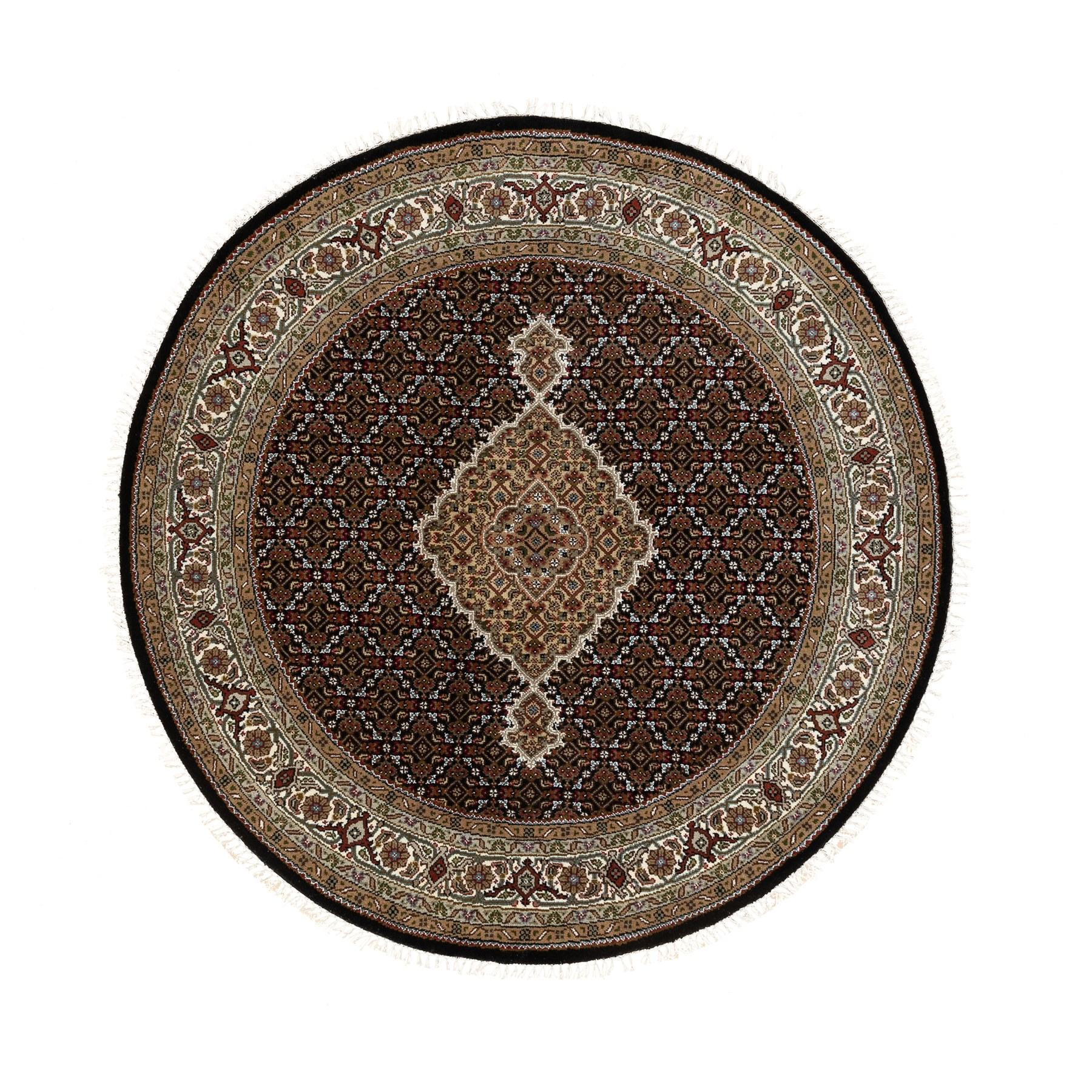 "5'1""x5'2"" Wool And Silk Black Hand Knotted Fish Design Tabriz Mahi Oriental Round Rug"