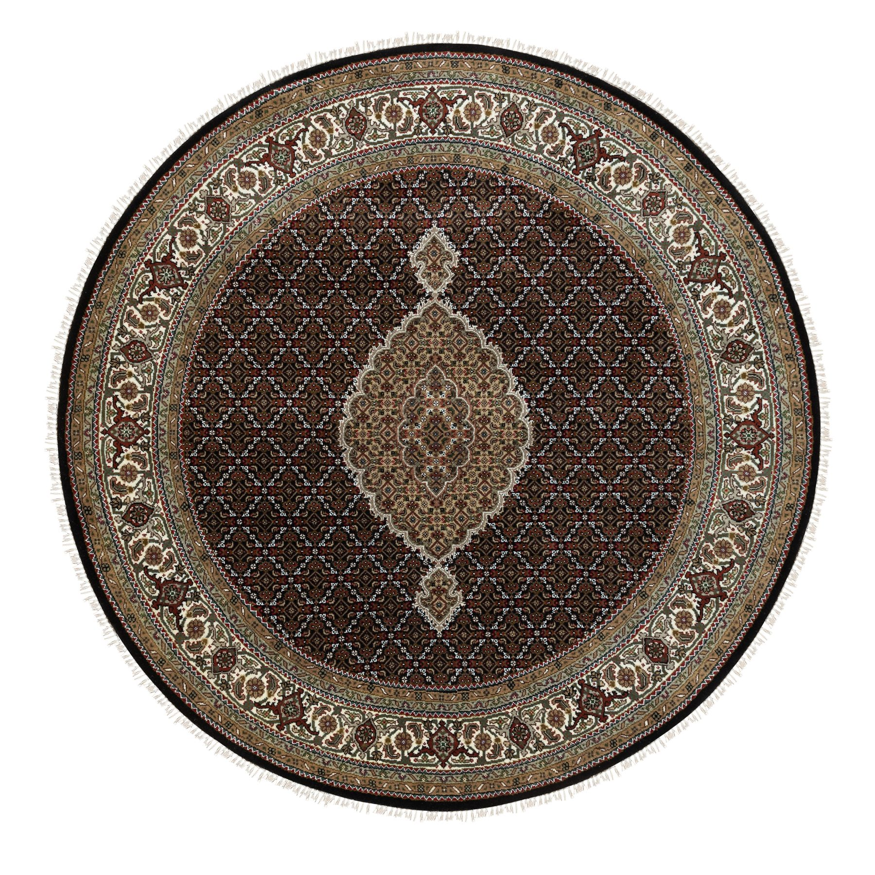 "6'8""x6'8"" Black Hand Knotted Fish Design Tabriz Mahi Wool And Silk Oriental Round Rug"