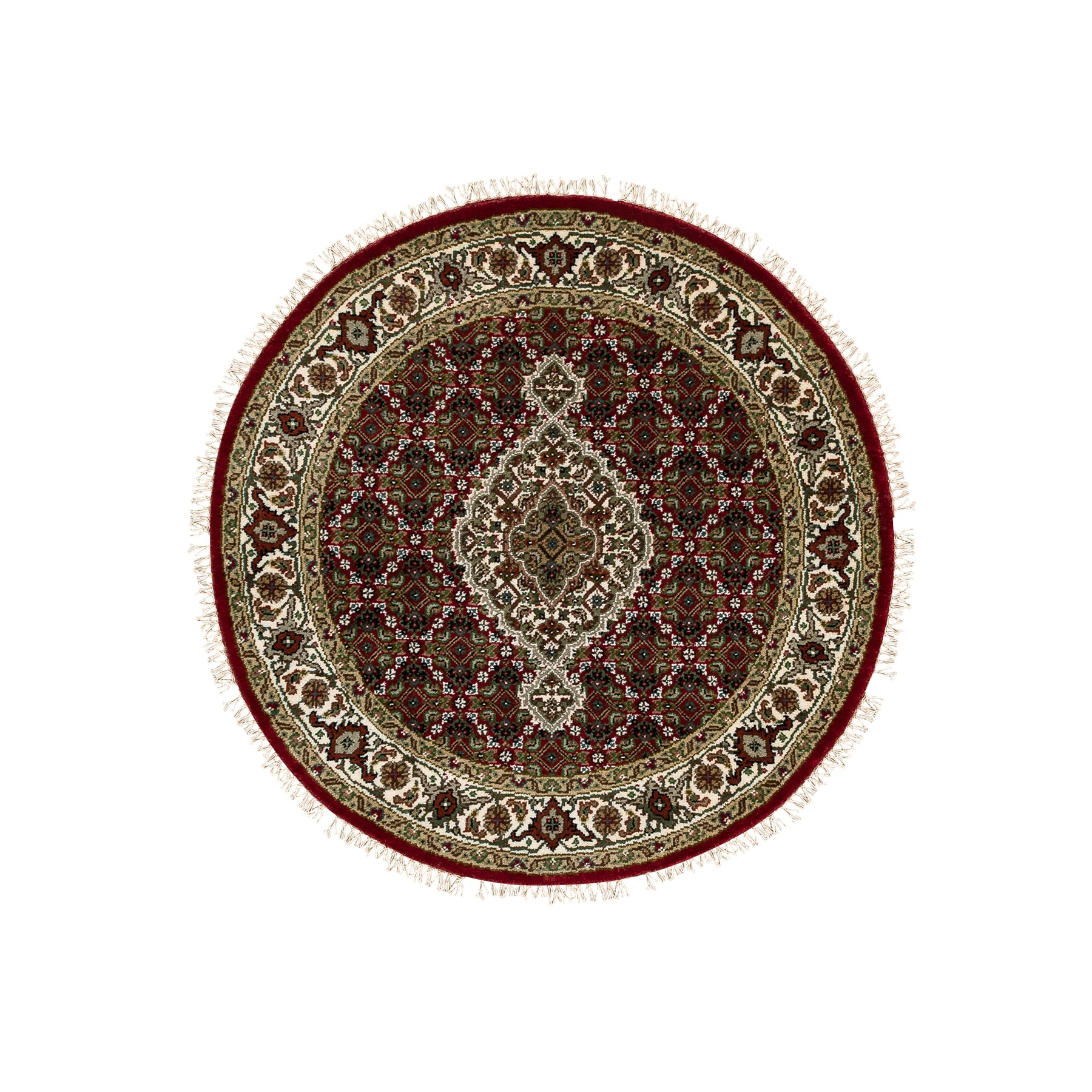 """3'4""""x3'4"""" Red Hand Knotted Fish Design Tabriz Mahi Wool And Silk Oriental Round Rug"""