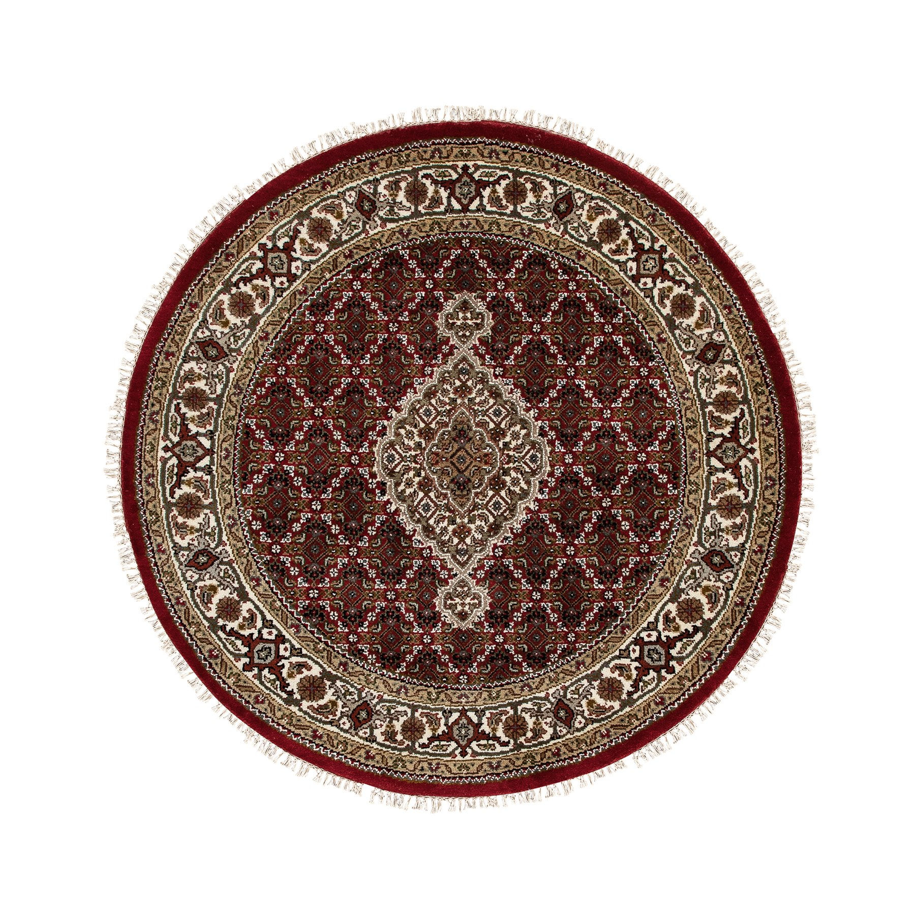 4'x4' Red Hand Knotted Wool And Silk Tabriz Mahi Fish Design Oriental Round Rug
