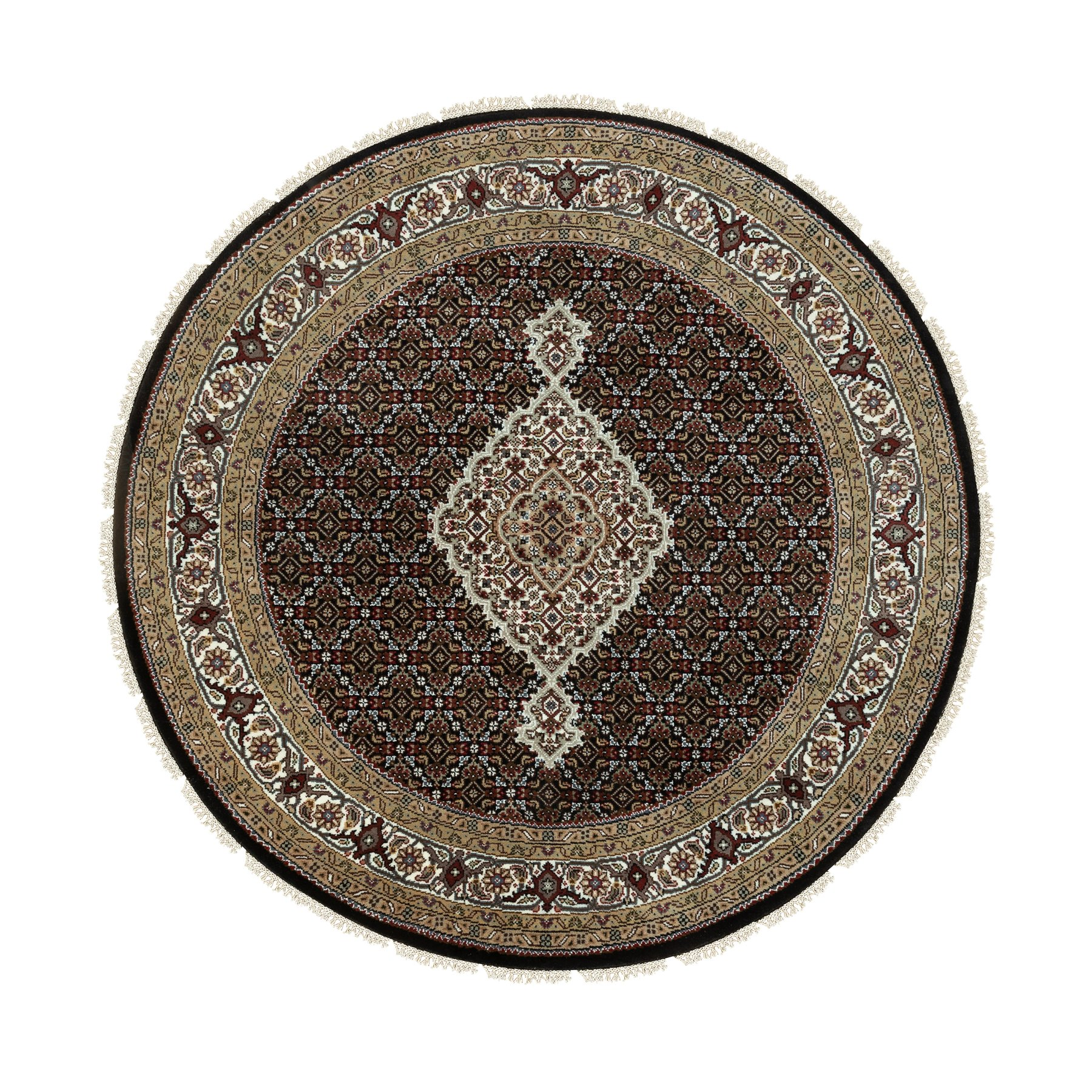 "5'2""x5'2"" Hand Knotted Wool And Silk Black Fish Design Tabriz Mahi Oriental Round Rug"