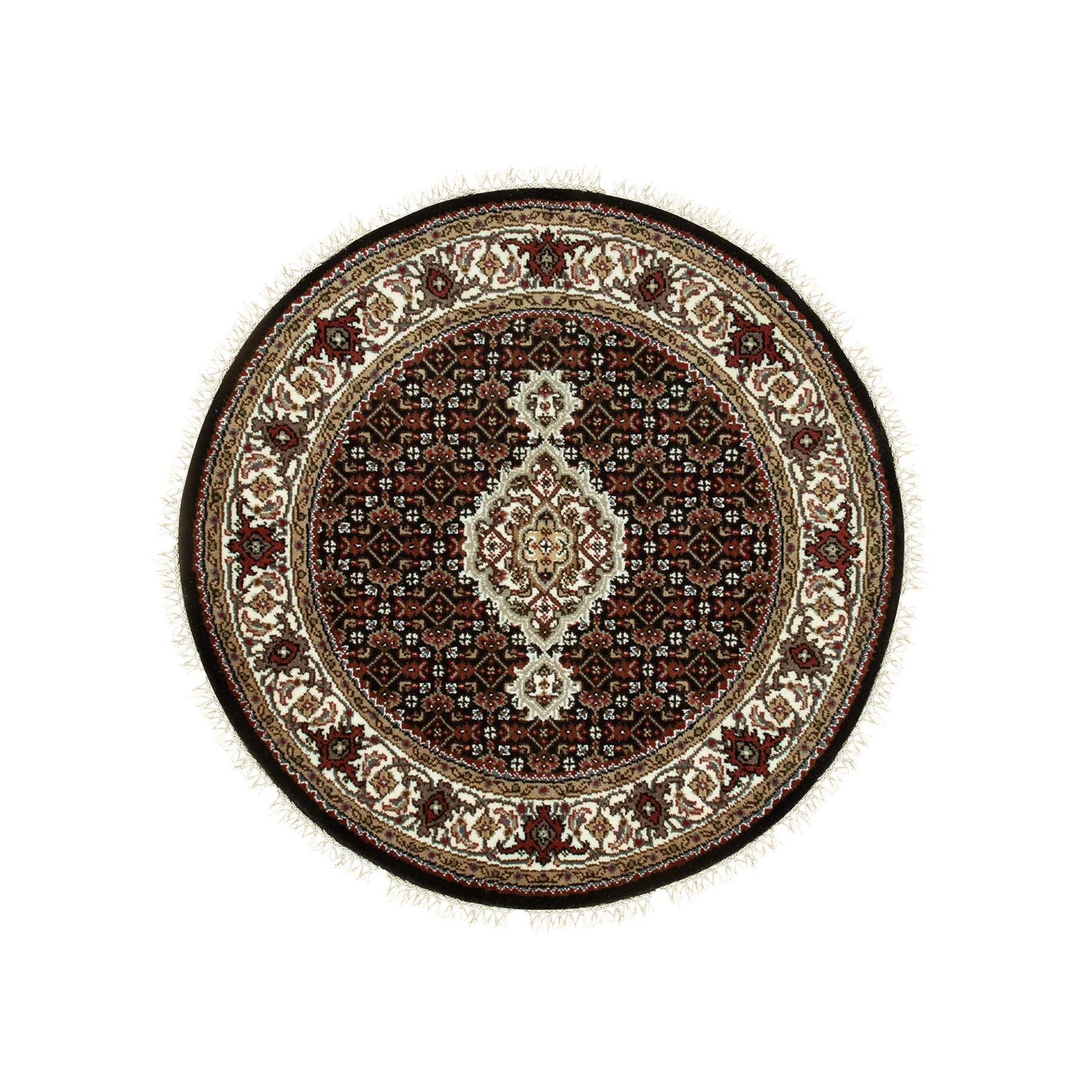 3'x3' Hand Knotted Wool And Silk Black Fish Design Tabriz Mahi Oriental Round Rug