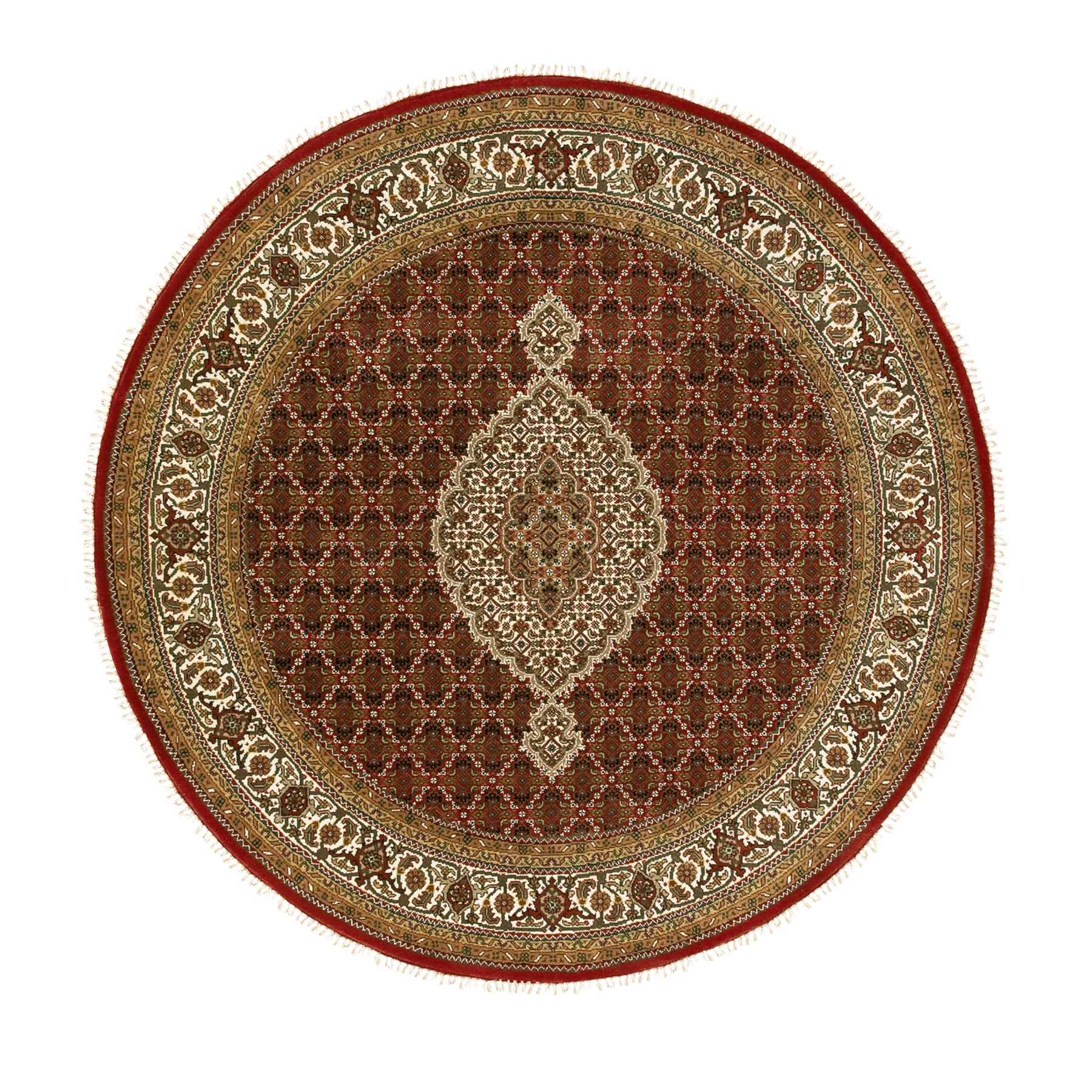 "6'7""x6'7"" Wool And Silk Red Hand Knotted Fish Design Tabriz Mahi Oriental Round Rug"