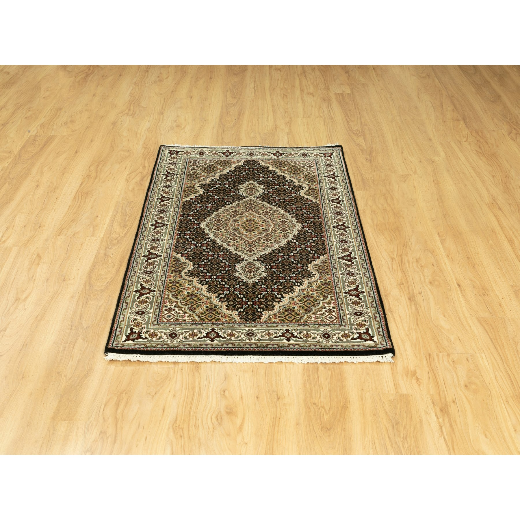 "3'1""x5'2"" Wool And Silk Black Hand Knotted Fish Design Tabriz Mahi Oriental Rug"