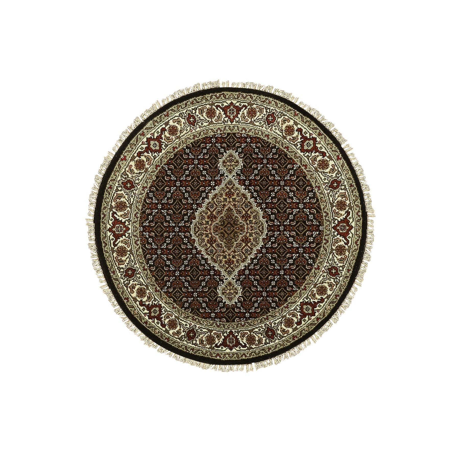 "3'3""x3'3"" Hand Knotted Wool And Silk Black Fish Design Tabriz Mahi Oriental Round Rug"