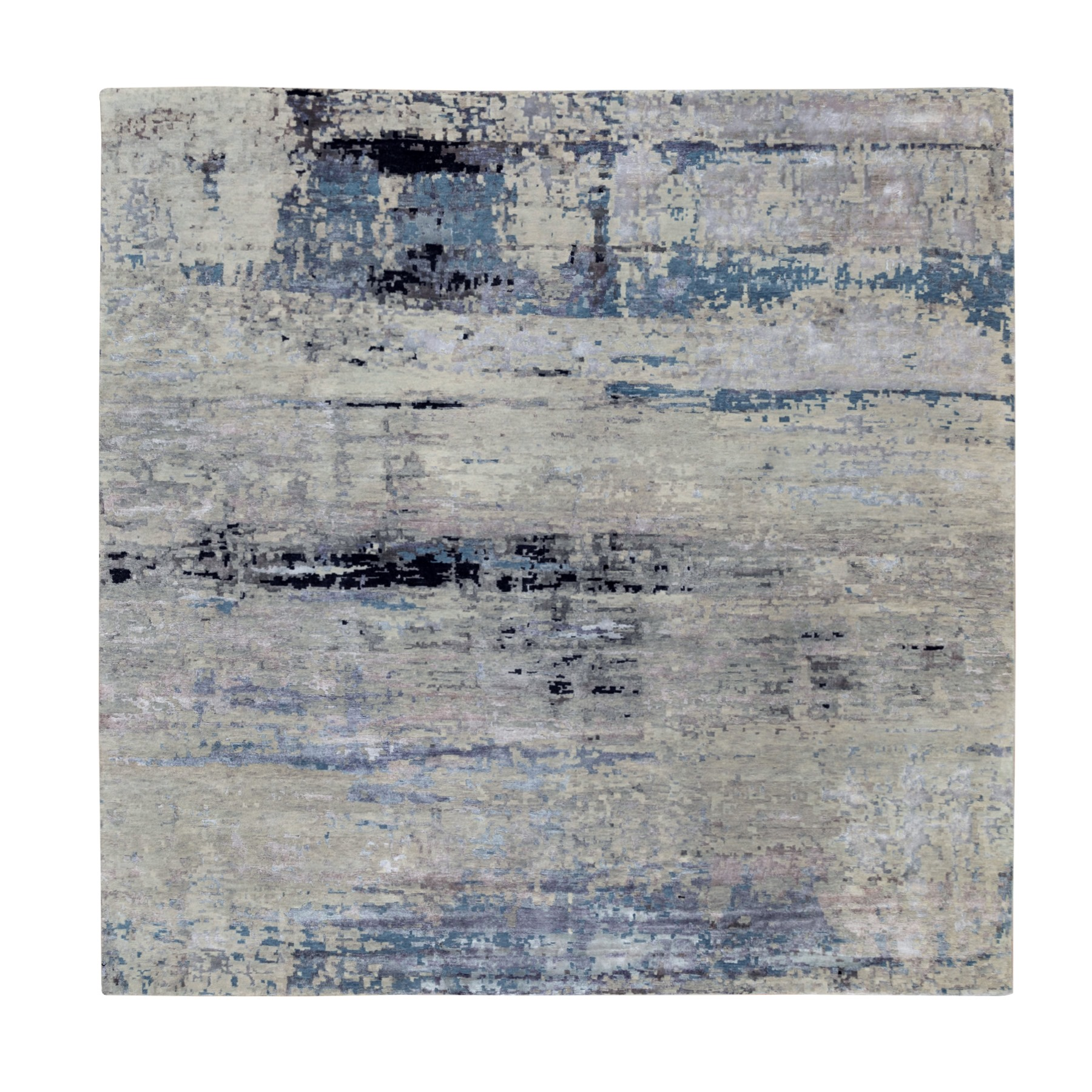 "10'x10'2"" Wool Silk Silver, Blue Modern Abstract Design Hand Knotted Oriental Square Rug"