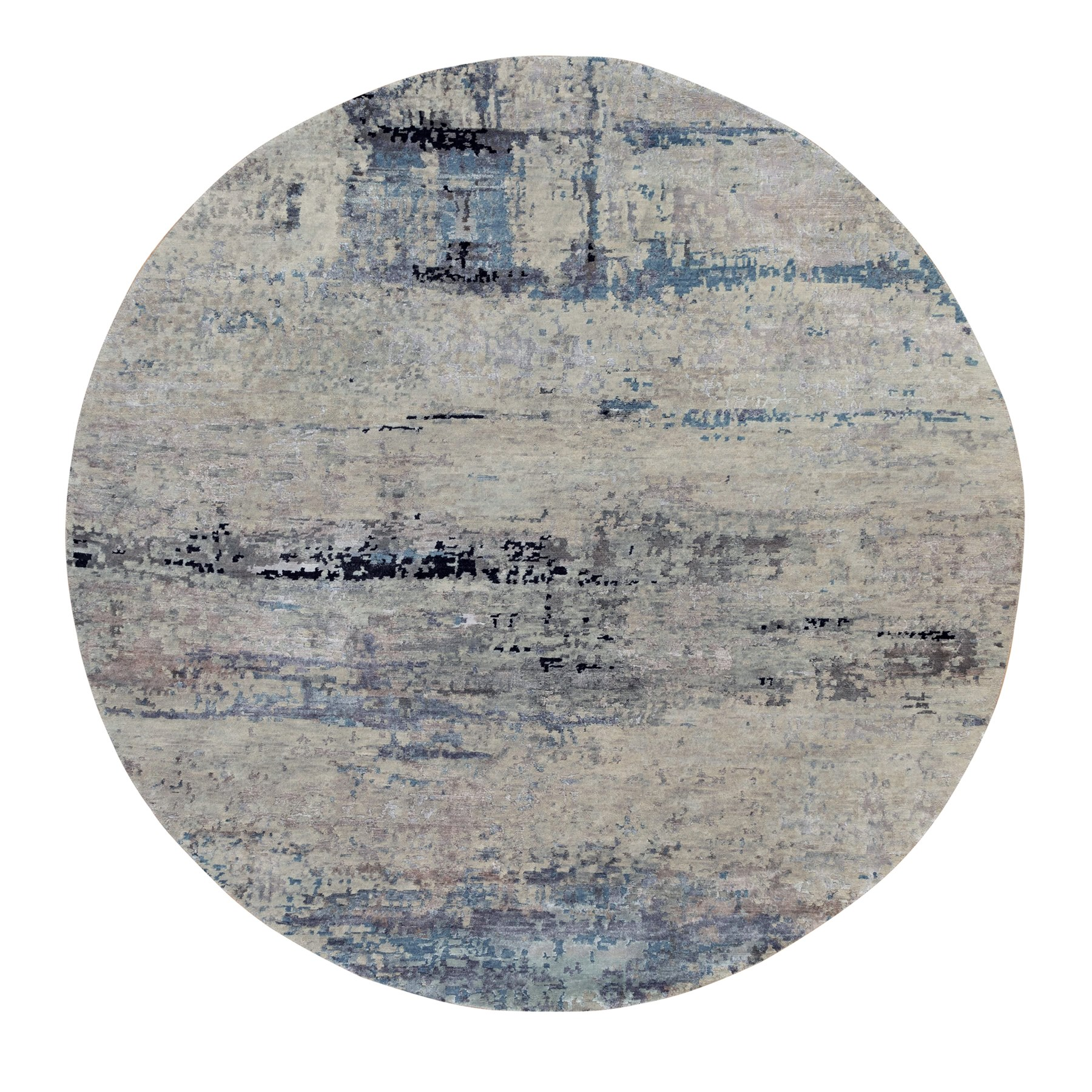 8'x8' Silver Blue Wool & Silk Modern Abstract Design Hand Knotted Oriental Round Rug