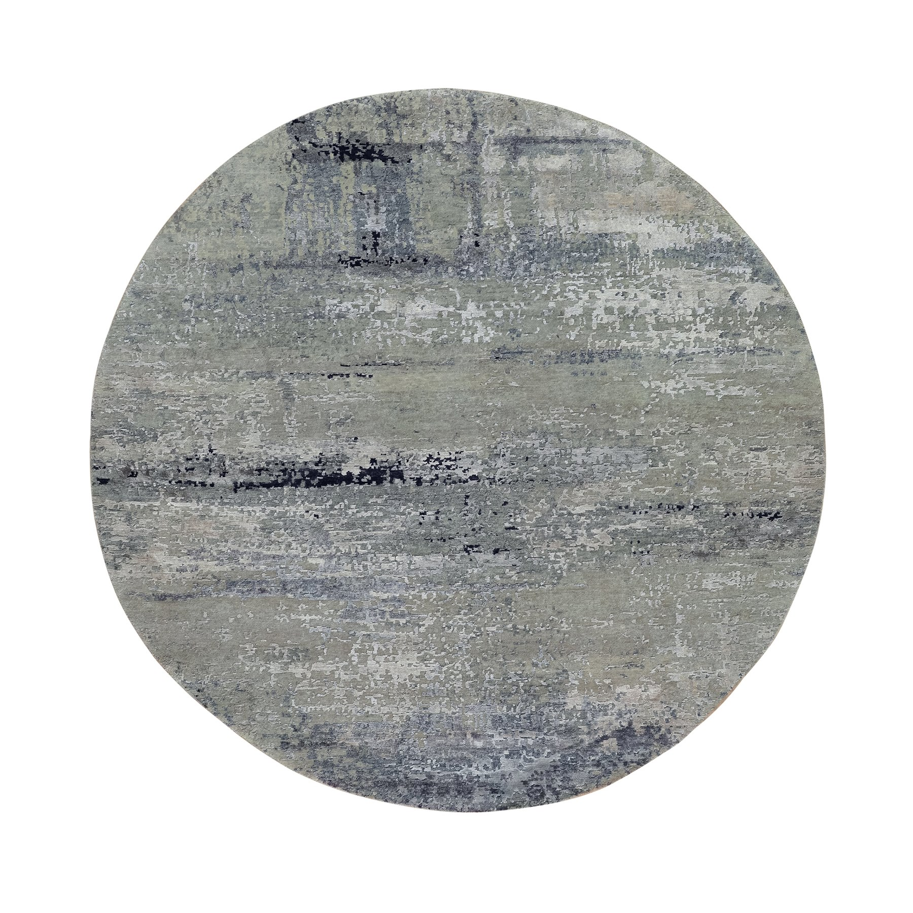 7'x7' Silver Blue Wool & Silk Modern Abstract Design Hand Knotted Oriental Round Rug