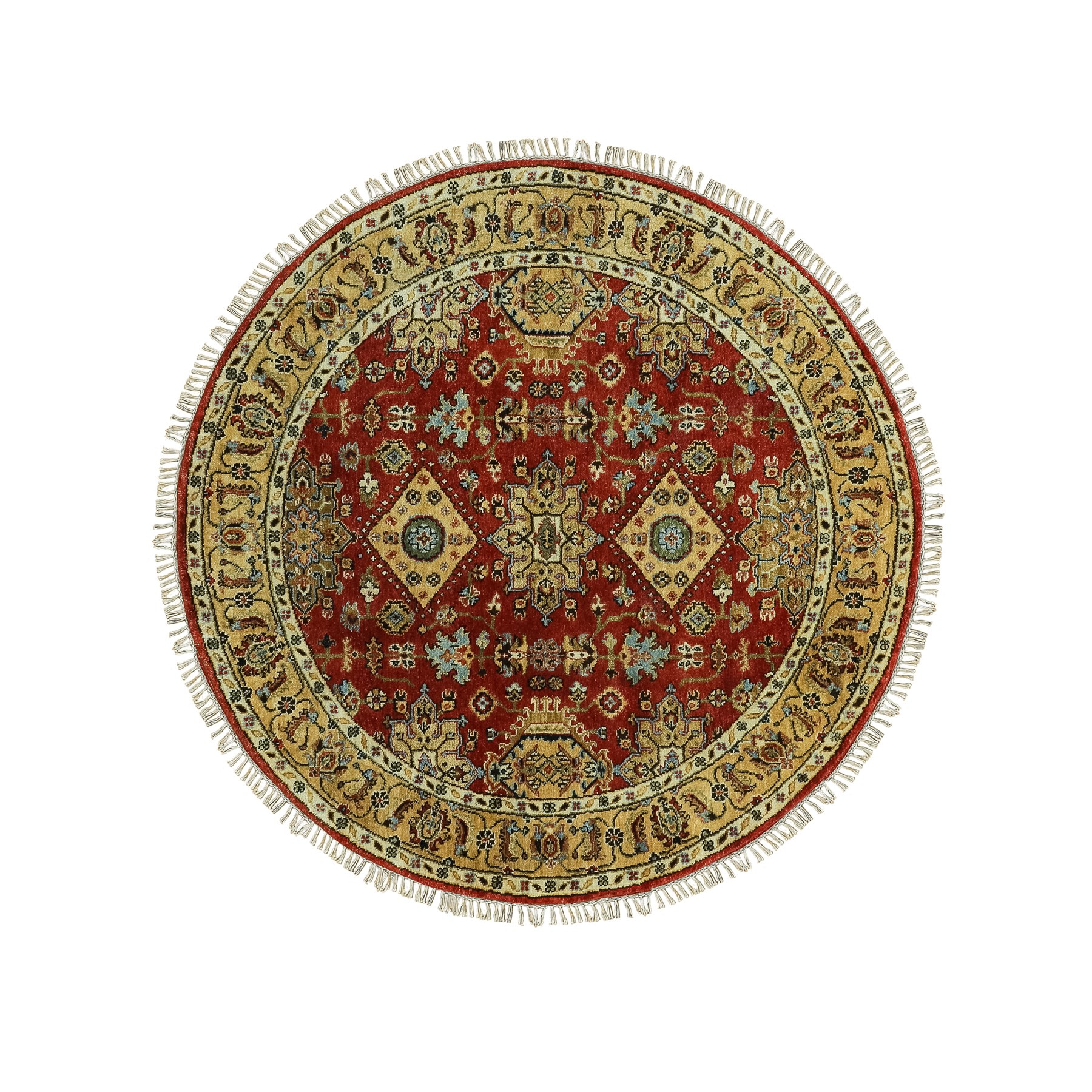 """5'1""""x5'1"""" Red Karajeh Design Pure Wool Hand Knotted Oriental Round Rug"""