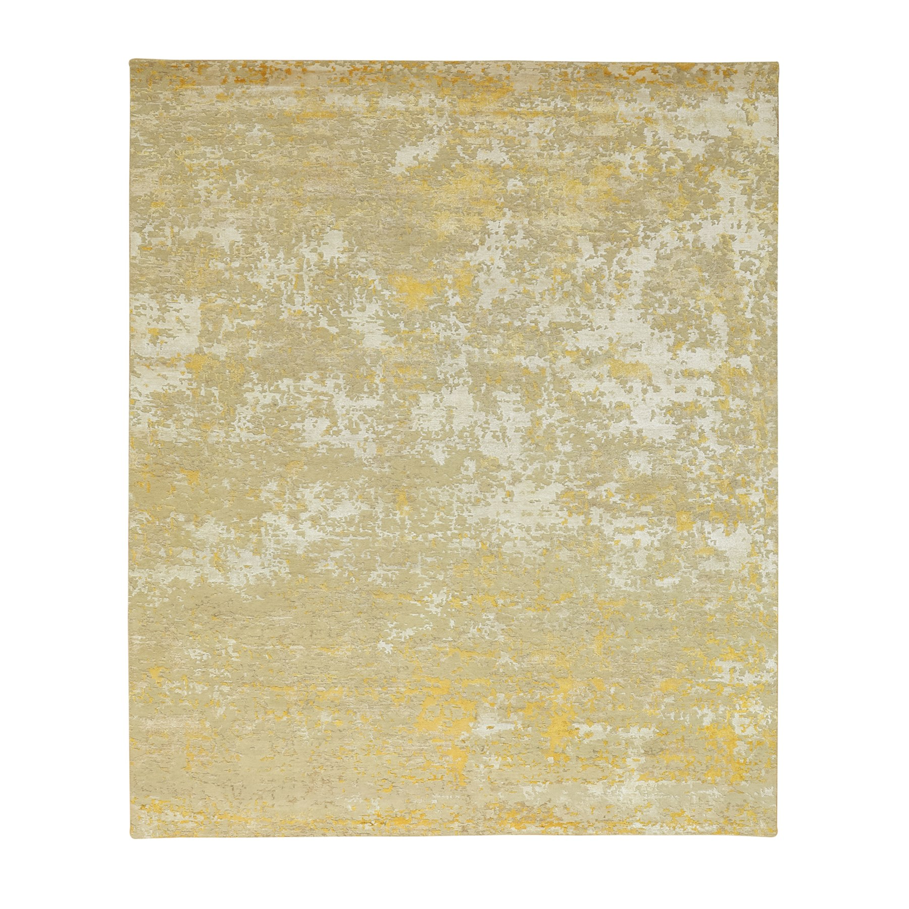 "8'x9'9"" Hi-Lo Pile Abstract Design Wool And Silk Hand Knotted Oriental Rug"