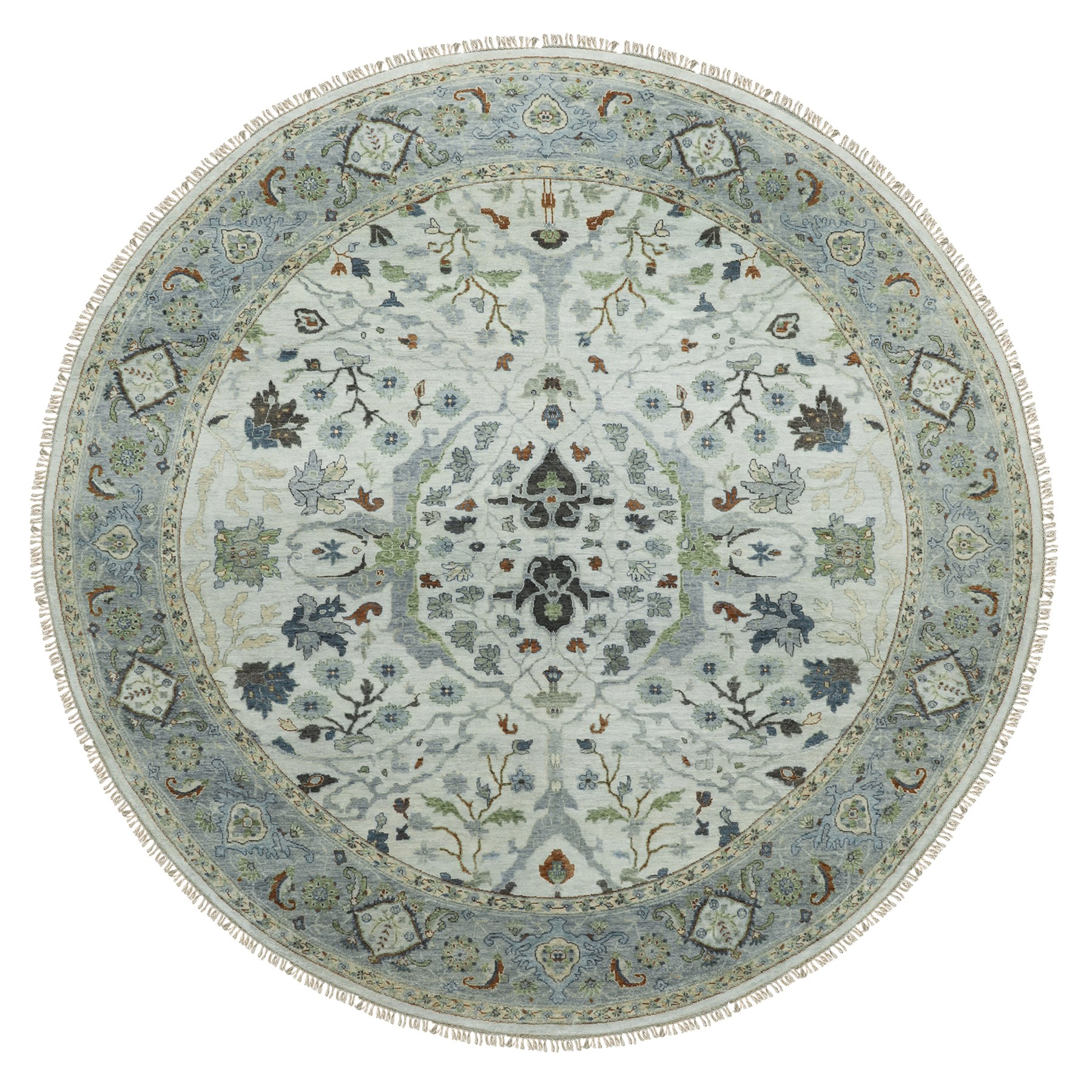 """9'10""""x10' Gray Denser Weave Oushak Large Motifs Hand Knotted Pure Wool Oriental Round Rug"""