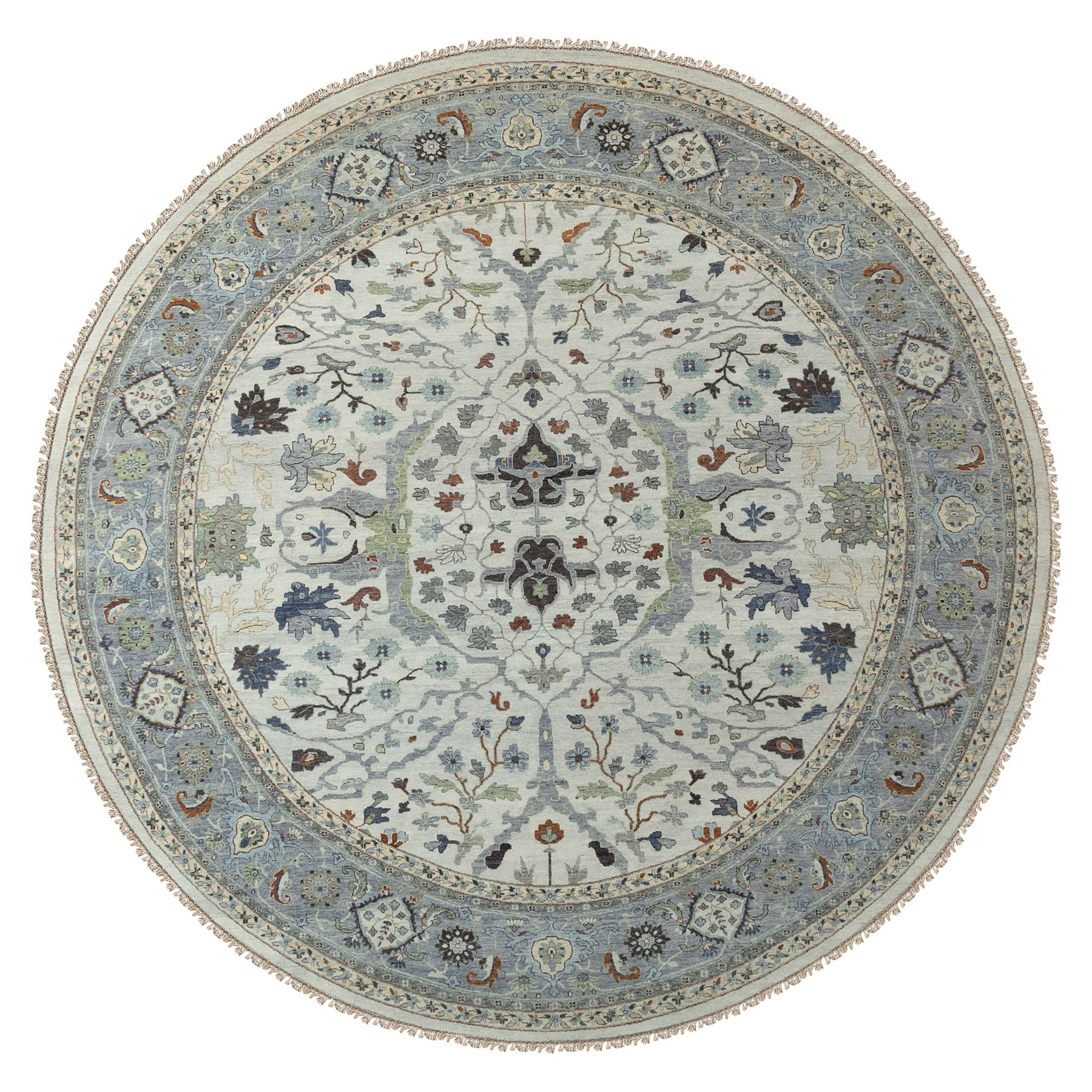 12'x12' Oversize Gray Denser Weave Oushak Large Motifs Hand Knotted Pure Wool Oriental Round Rug