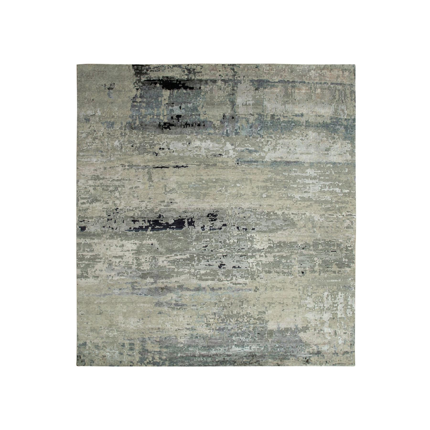 12'x12' Oversize Silver, Blue Wool & Silk Modern Abstract Design Hand Knotted Oriental Rug