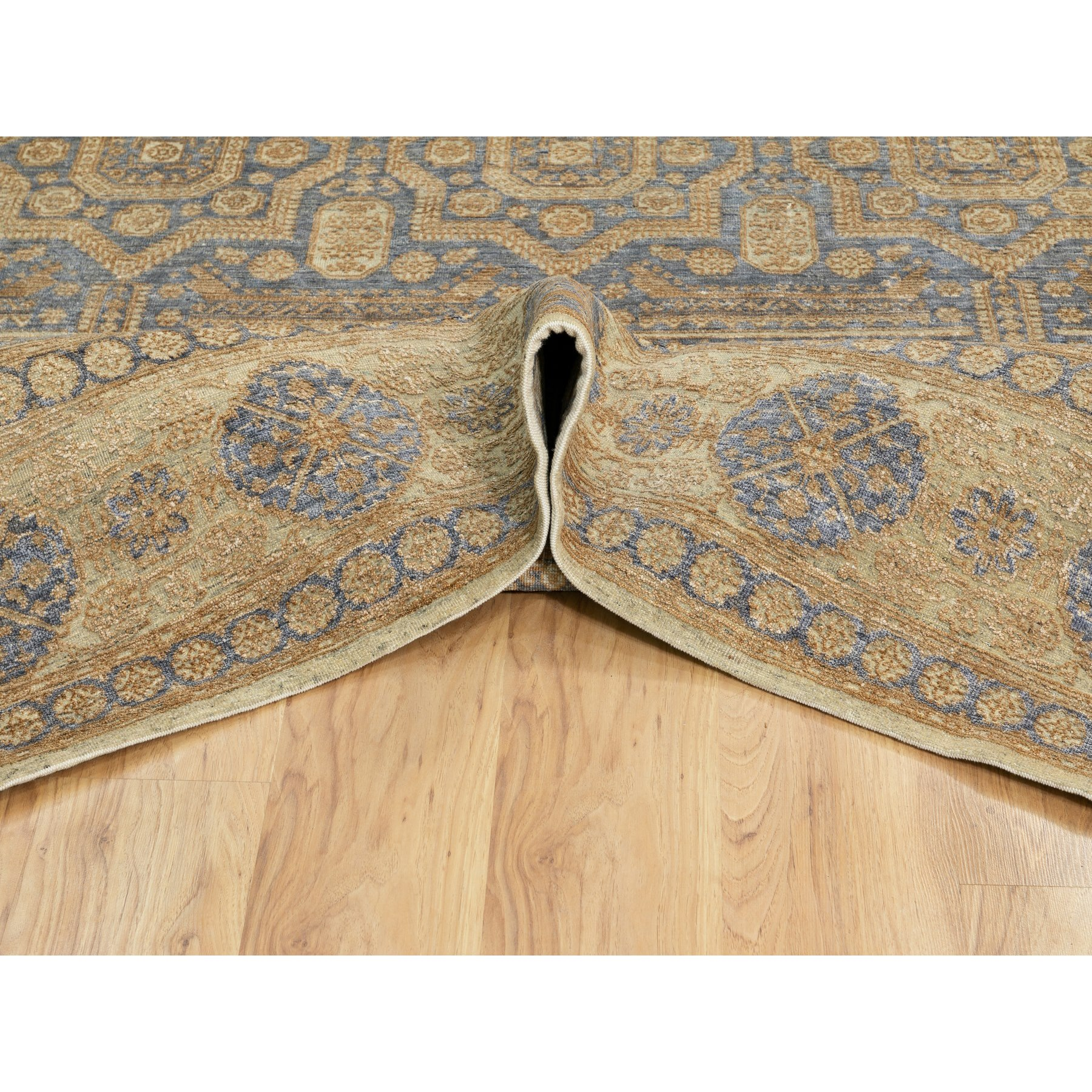 8'x10' Hand Knotted Mamluk Antiqued Gold Design Silk With Textured Wool Oriental Rug