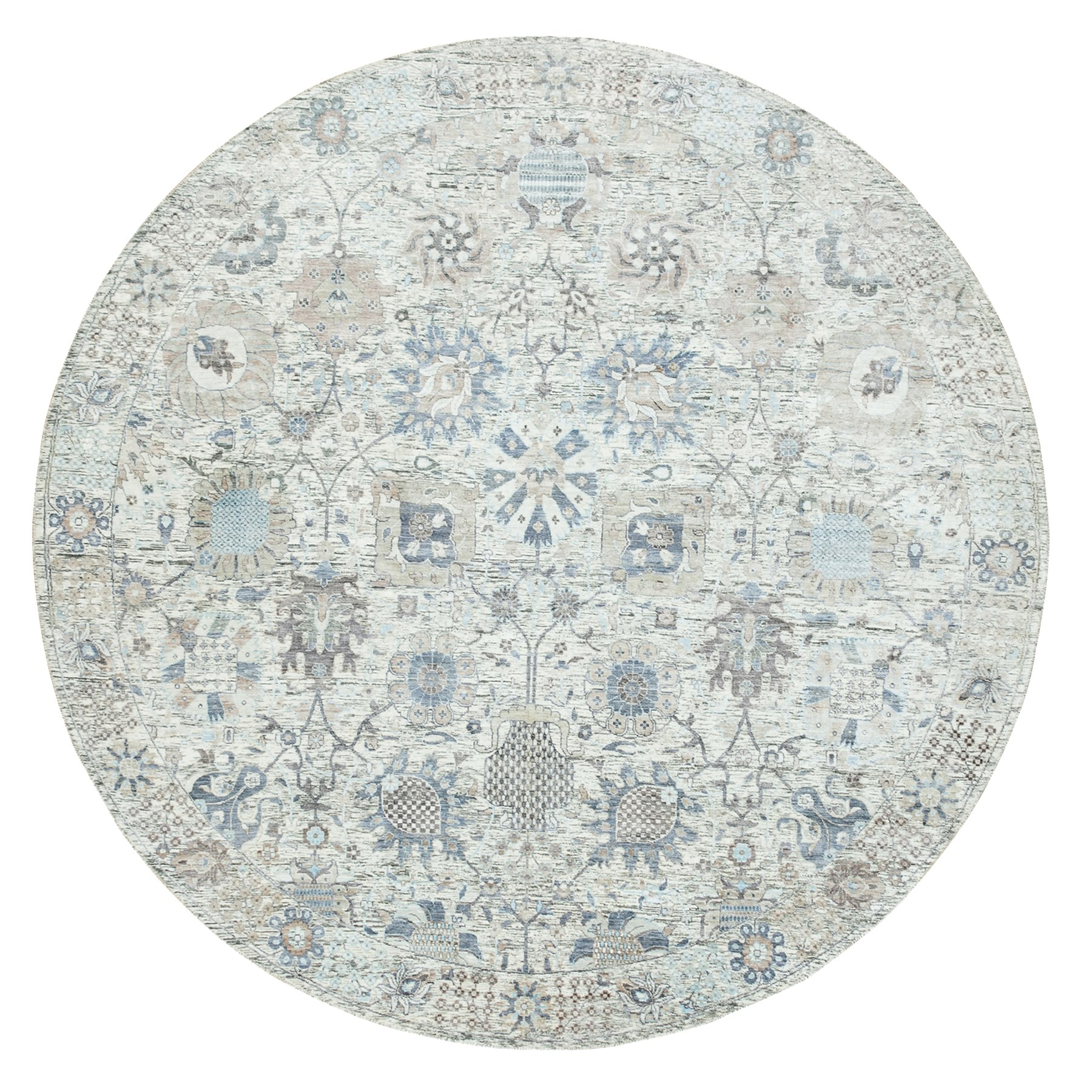 9'x9' Round Hand Knotted Ivory Silk With Textured Wool Tabriz Oriental Rug