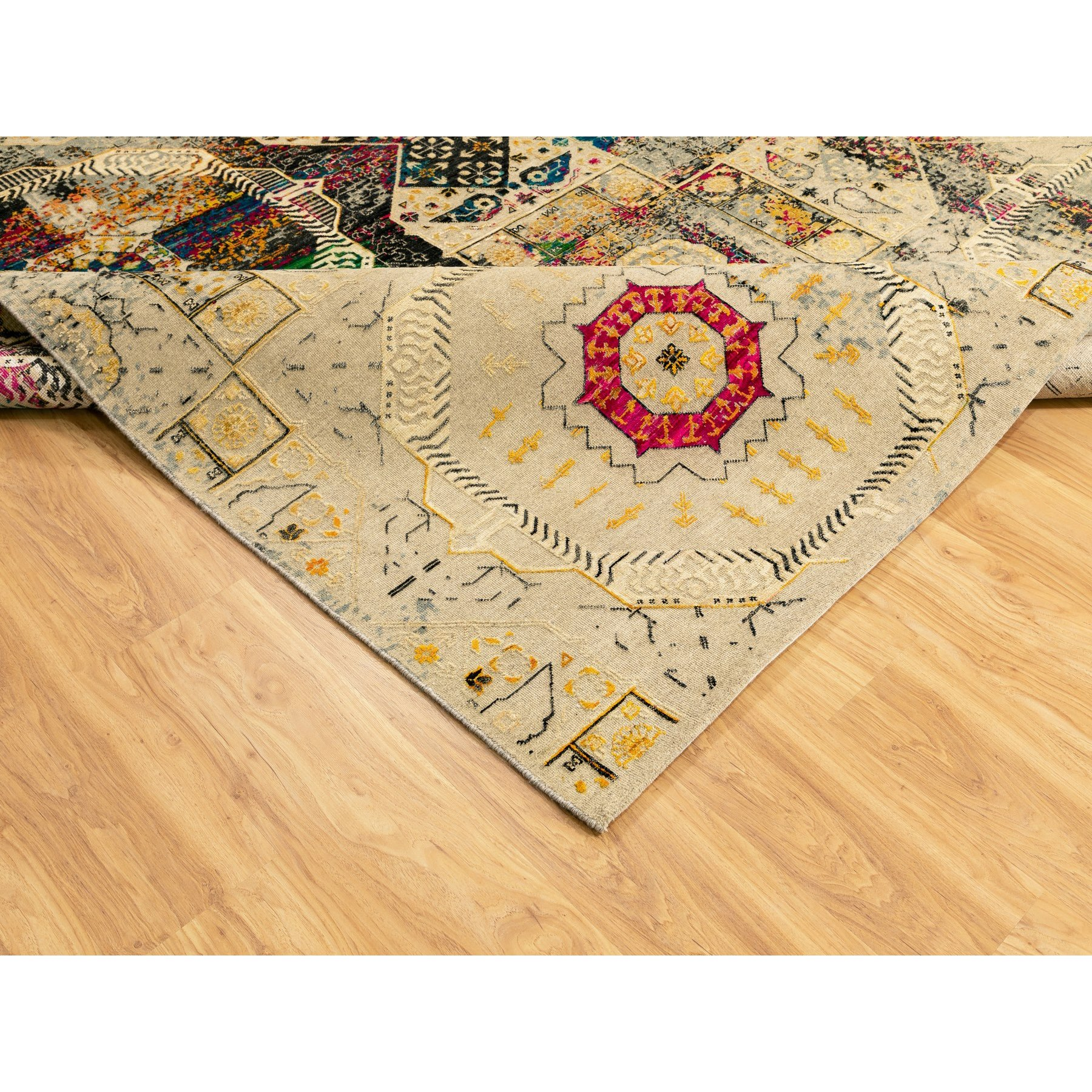 9'x12' Colorful Sari Silk With Mamluk Design Hand Knotted Oriental Rug
