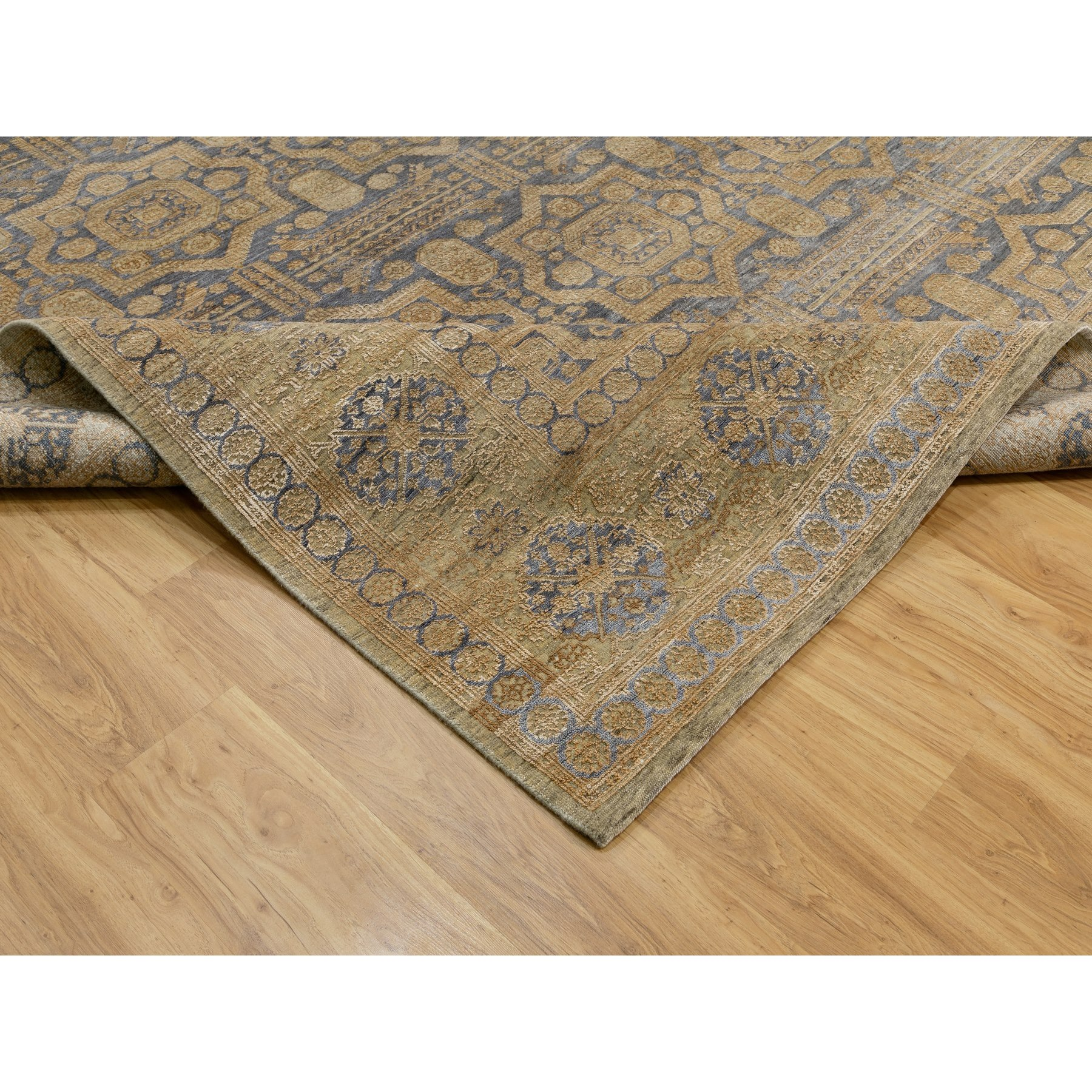 9'x12' Mamluk Antiqued Gold Design Hand Knotted Silk With Textured Wool Oriental Rug