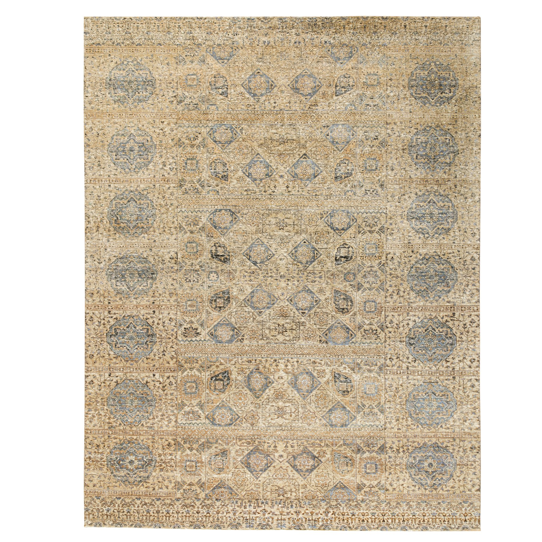 """9'2""""x12'2"""" Beige-Silver Silk With Textured Wool Mamluk Design Hand knotted Rug"""