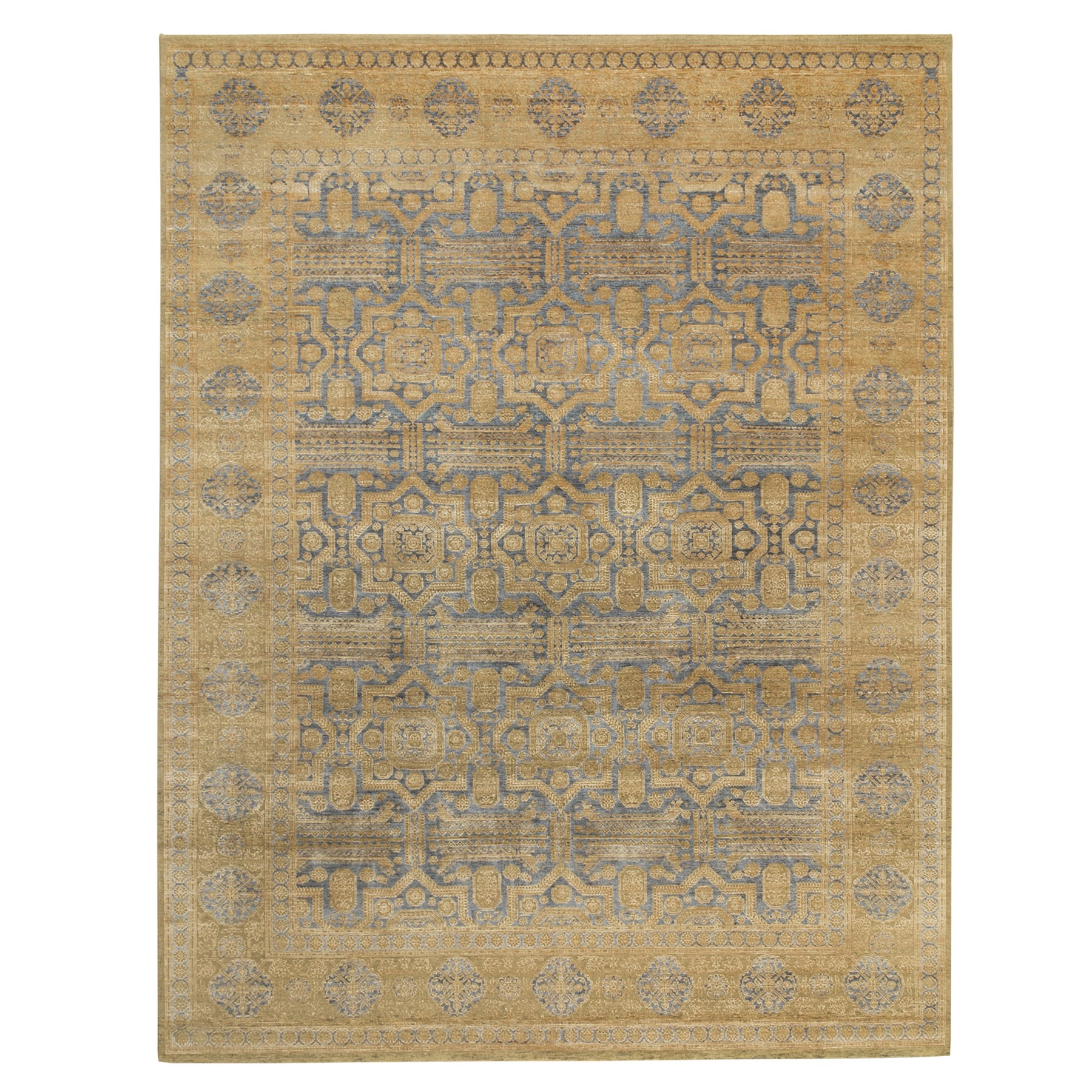 9'x12' Hand Knotted Mamluk Antiqued Gold Design Silk With Textured Wool Oriental Rug