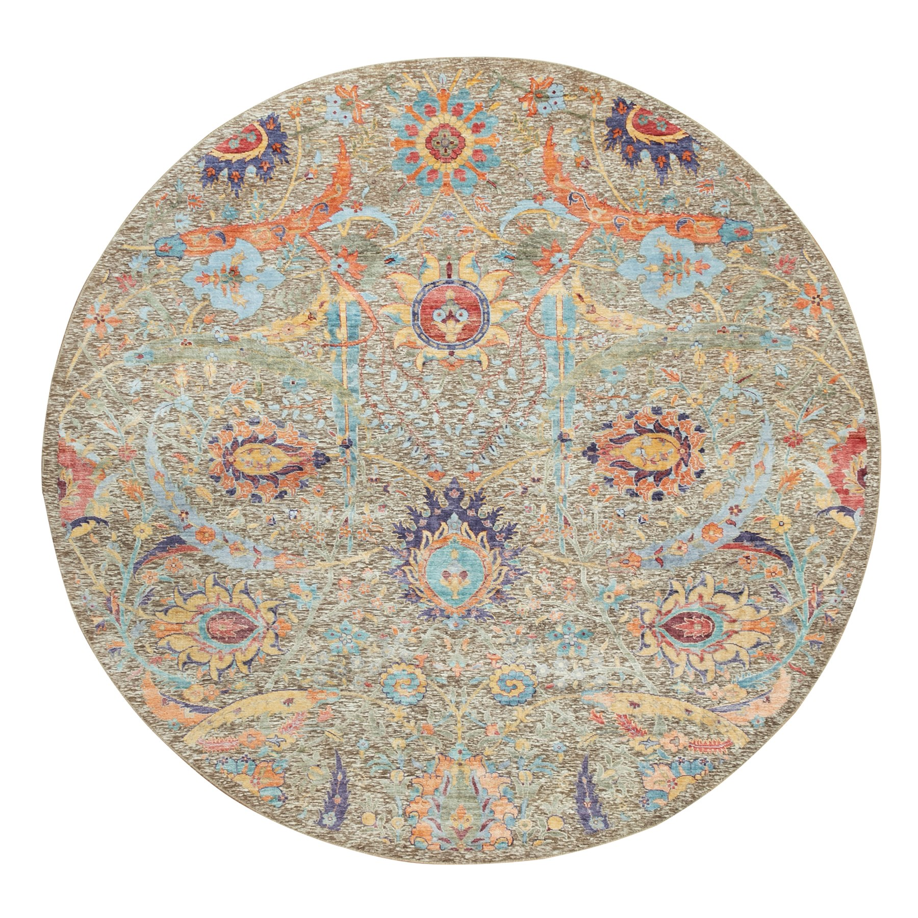 8'x8' Round Hand Knotted Taupe Silk With Textured Wool Sickle Leaf Design Oriental Rug