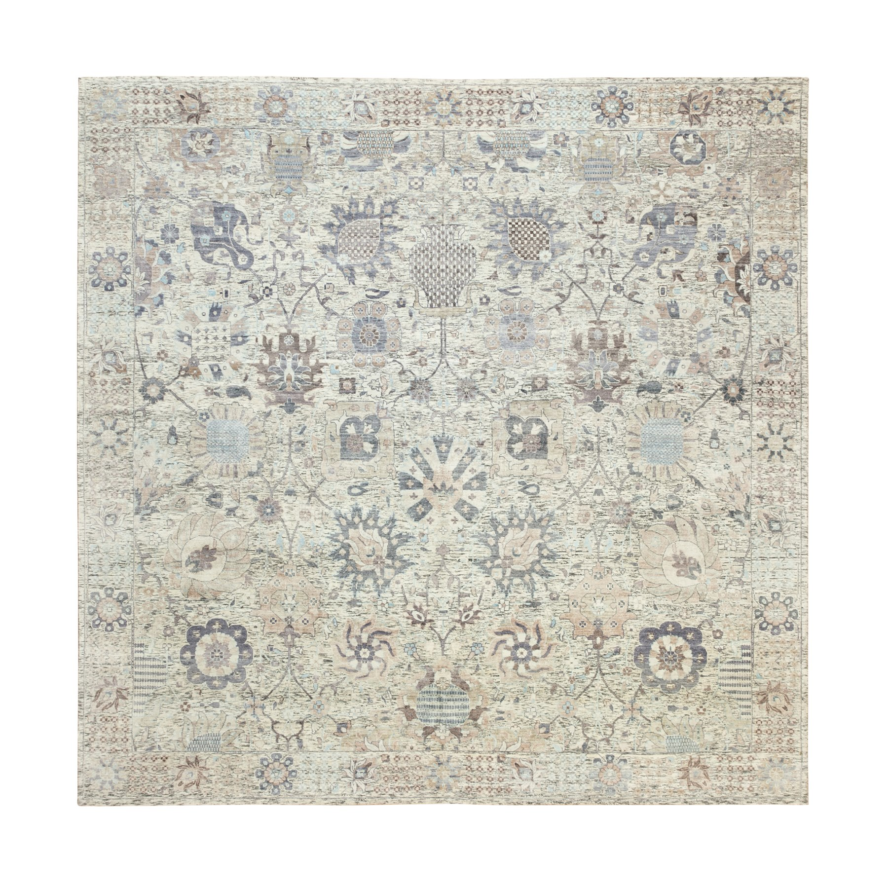 "10'x10'3"" Hand Knotted Ivory Silk With Textured Wool Tabriz Oriental Square Rug"