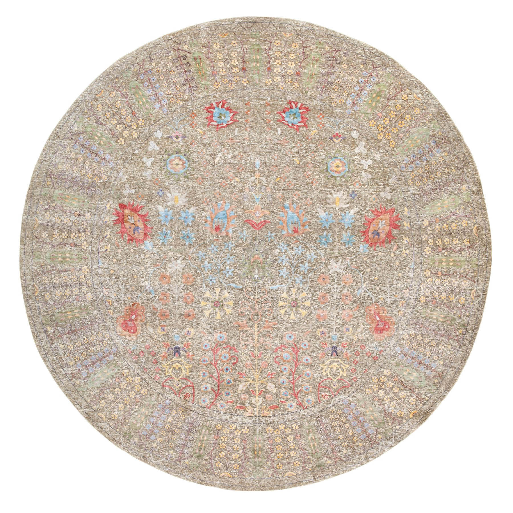 """12'x12'1"""" Taupe Silk With Textured Wool Directional Vase Design Hand Knotted Oriental Round Rug"""