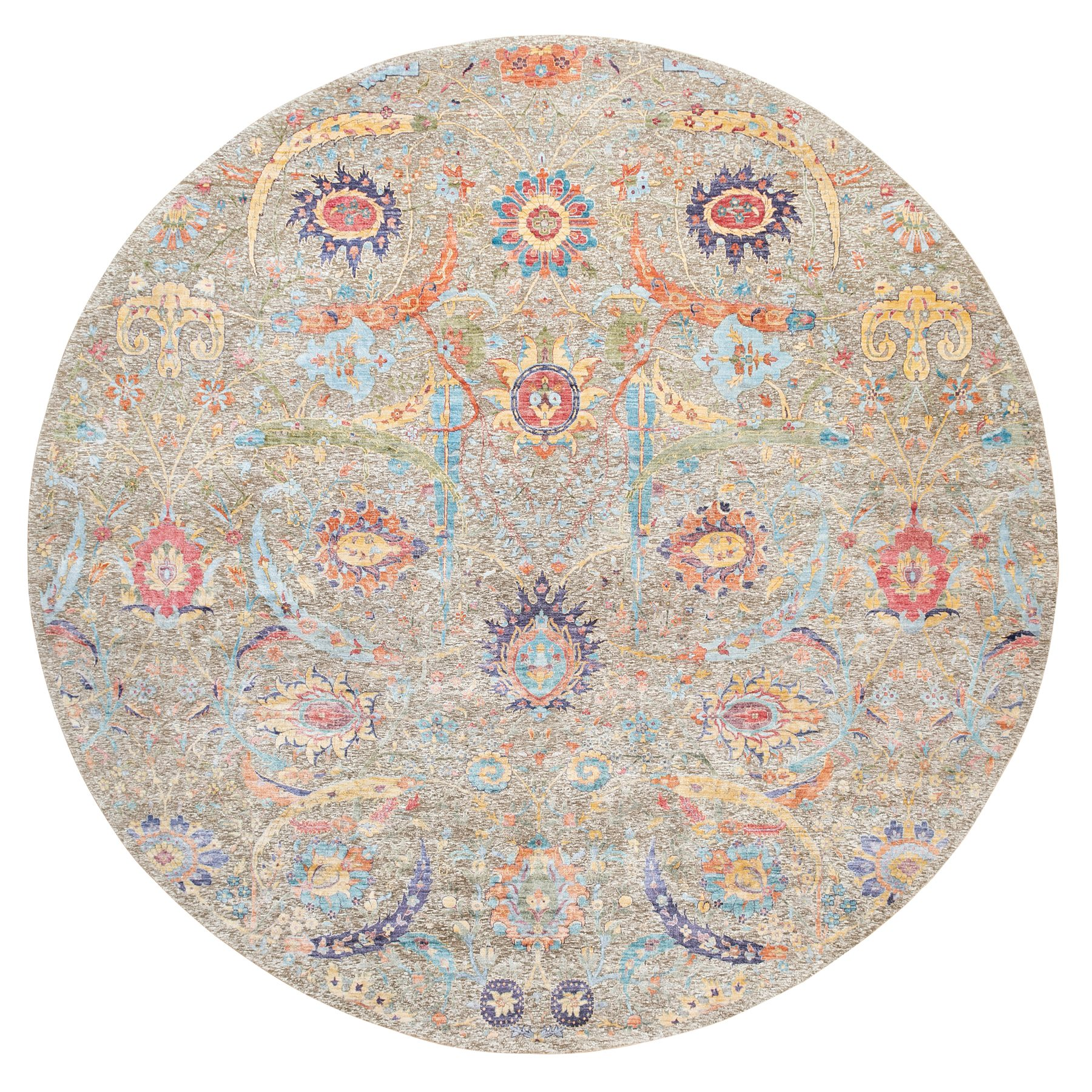 12'x12' Taupe Silk With Textured Wool Sickle Leaf Design Hand Knotted Oriental Round Rug