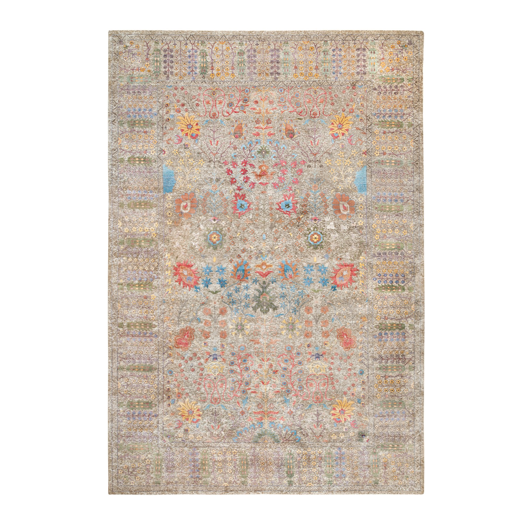 12'x18' Silk With Textured Wool Taupe Directional Vase Design Hand Knotted Oriental Gallery Size Rug