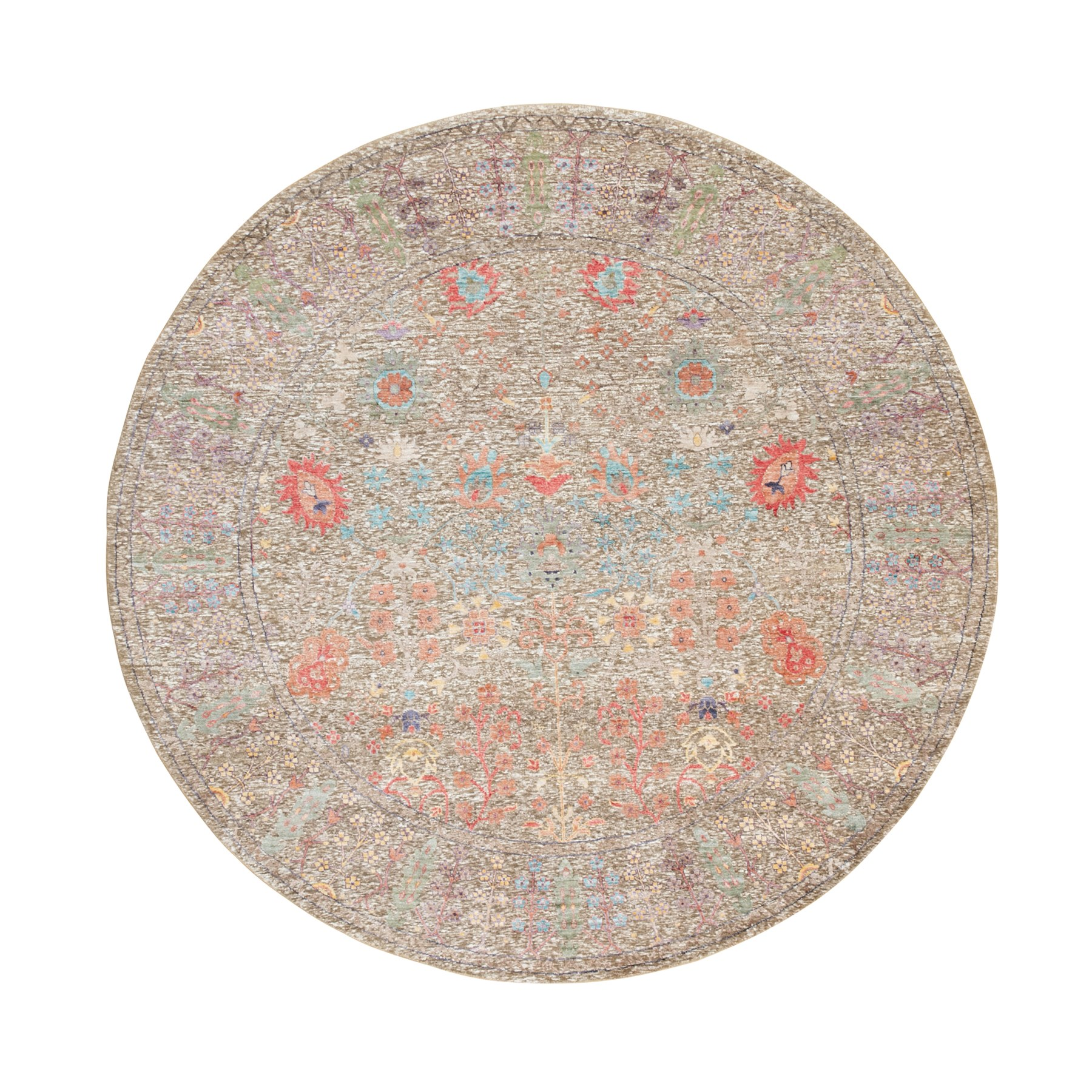 8'x8' Hand Knotted Taupe Silk With Textured Wool Directional Vase Design Oriental Round Rug