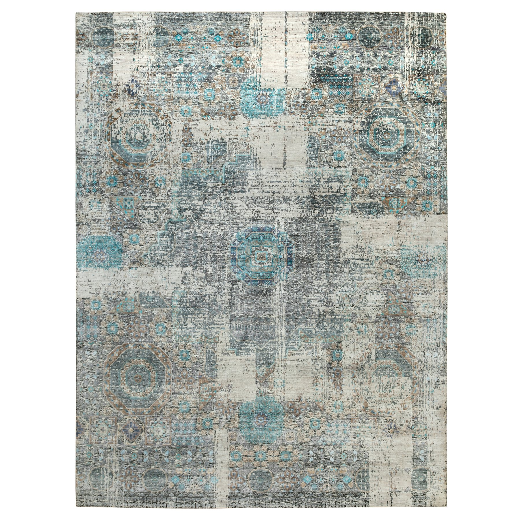 "9'1""x12'1"" Gray Silk With Textured Wool Erased And Broken Mamluk Design Hand Knotted Oriental Rug"