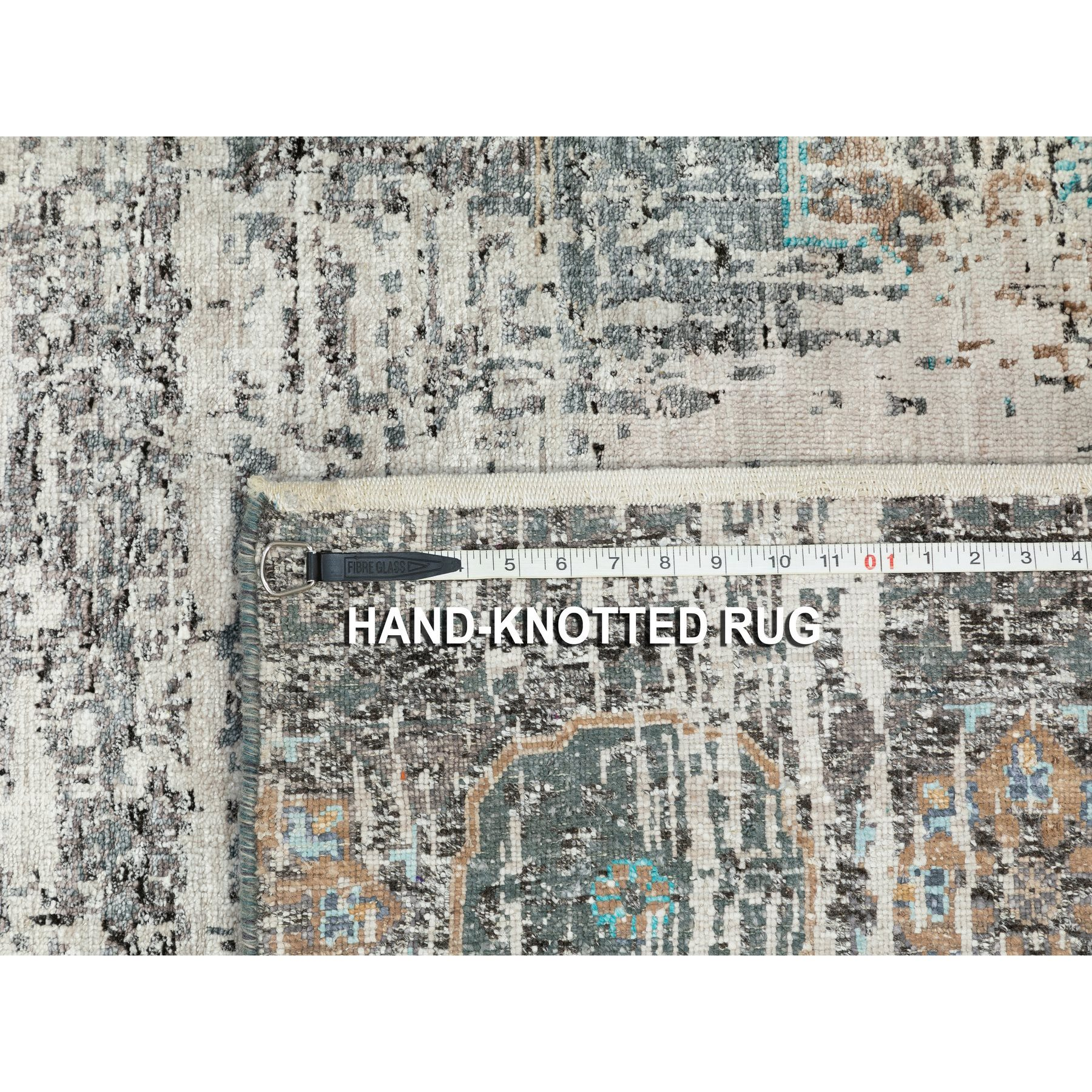"""9'1""""x12'1"""" Gray Silk With Textured Wool Erased And Broken Mamluk Design Hand Knotted Oriental Rug"""
