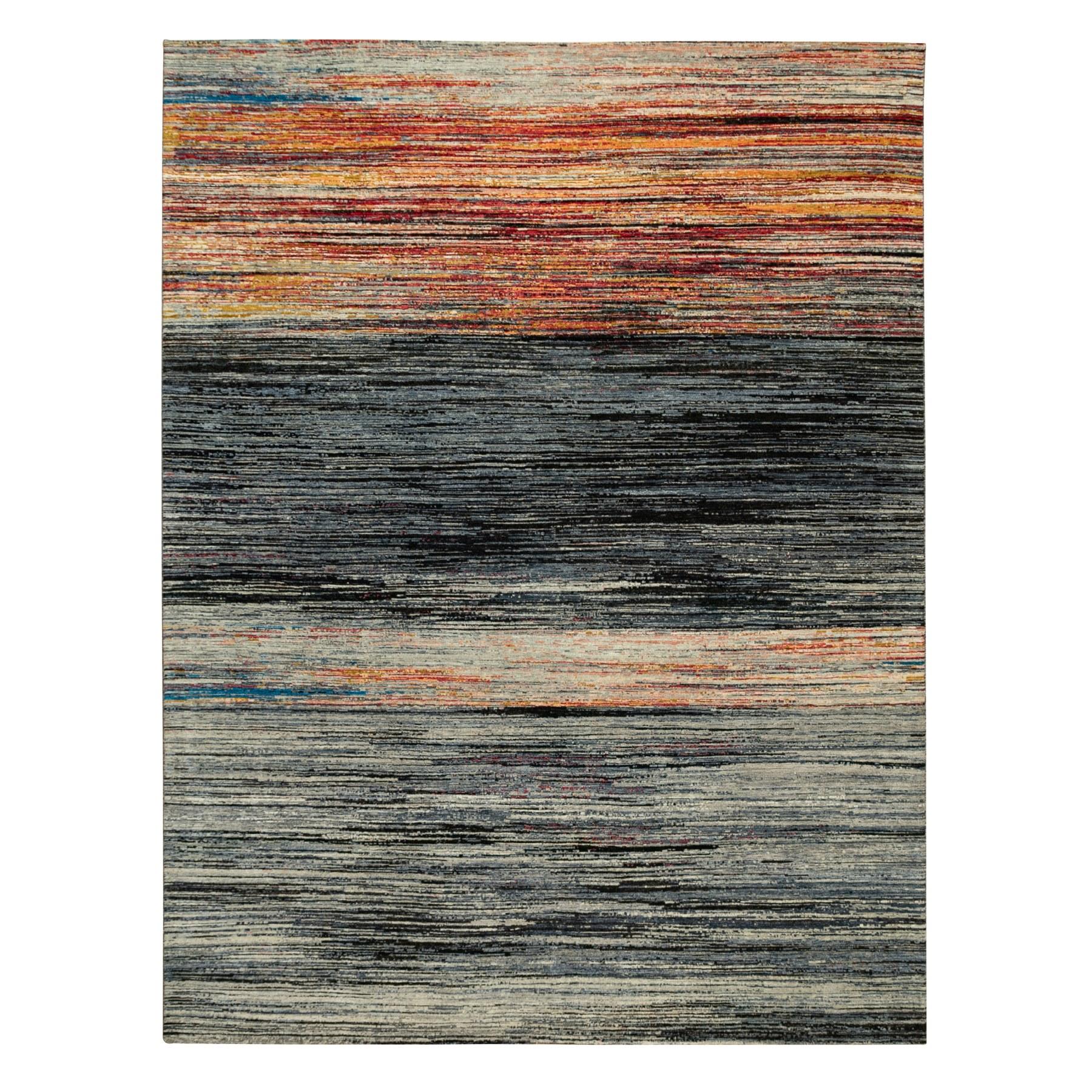 "8'9""x12' Hand Knotted Ghazni Wool Sunset Stripe Design Oriental Rug"