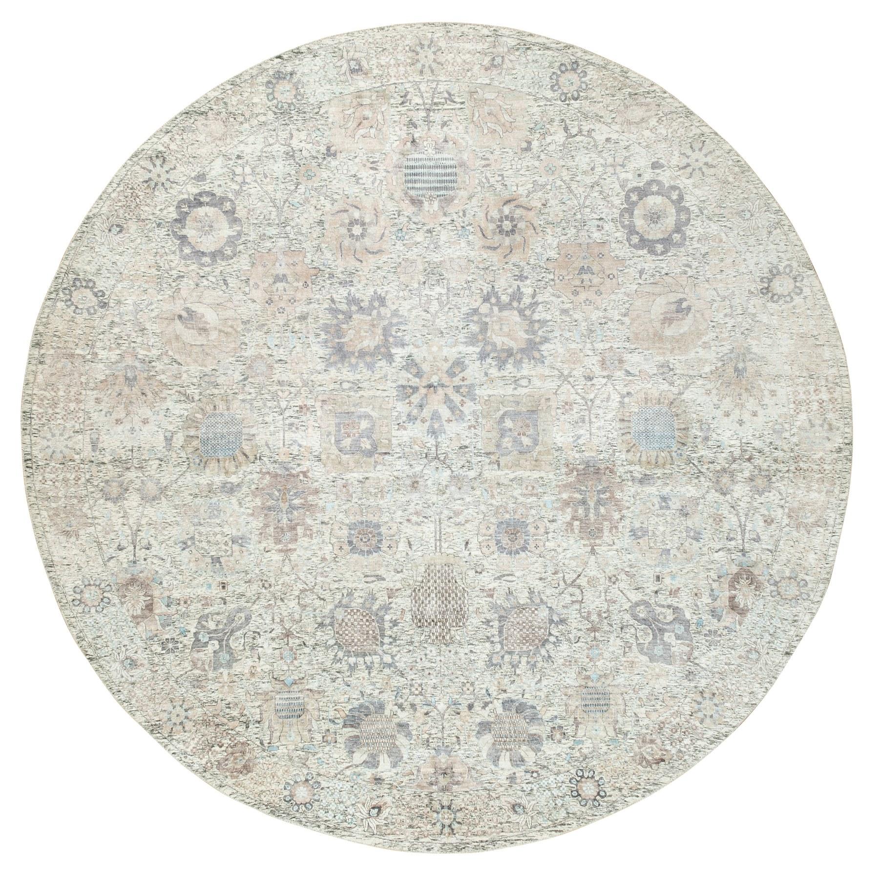 "11'10""x11'10"" Ivory Silk With Textured Wool Tabriz Hand Knotted Oriental Round Rug"