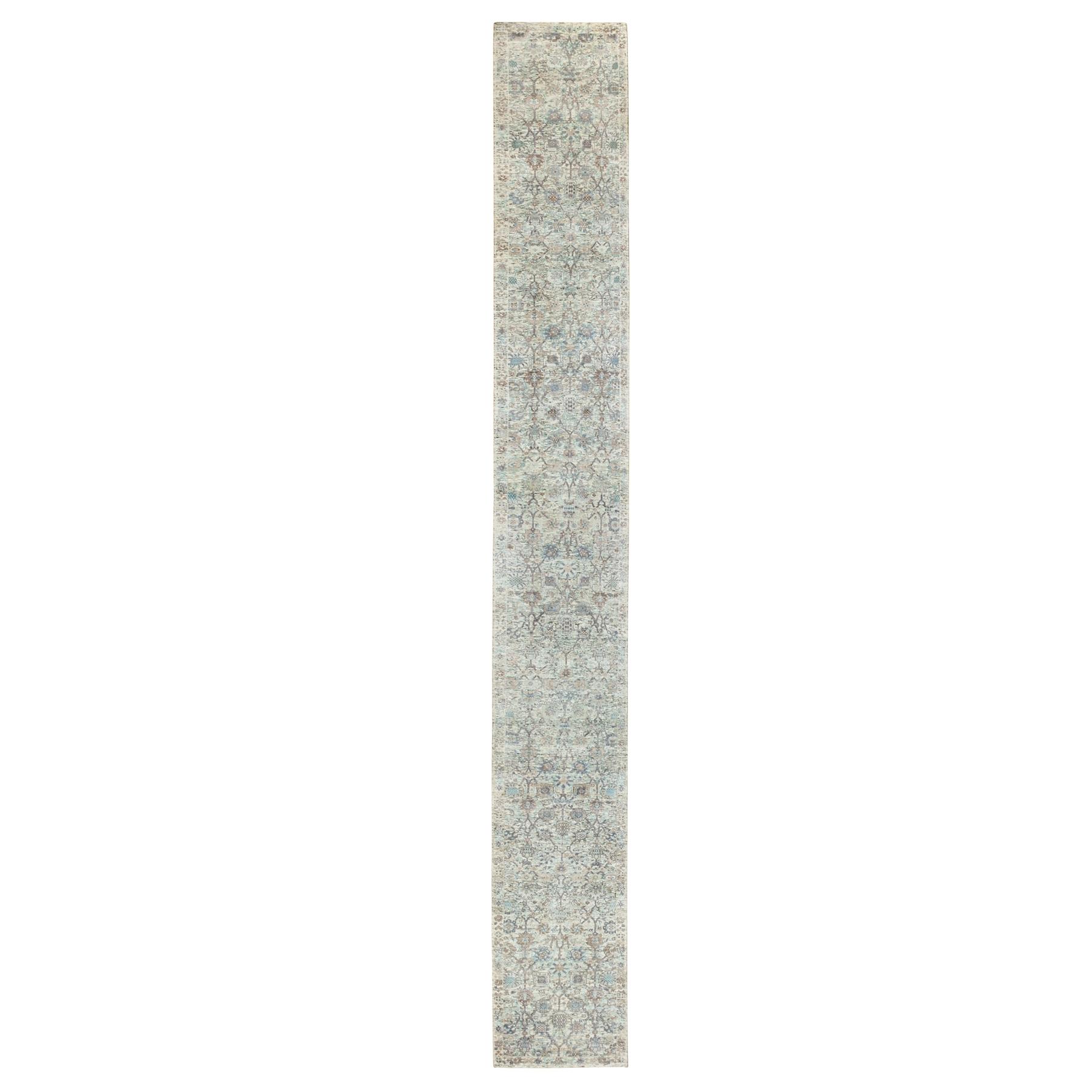 "2'8""x22'3"" Ivory Hand Knotted Silk With Textured Wool Tabriz Oriental XL Runner Rug"