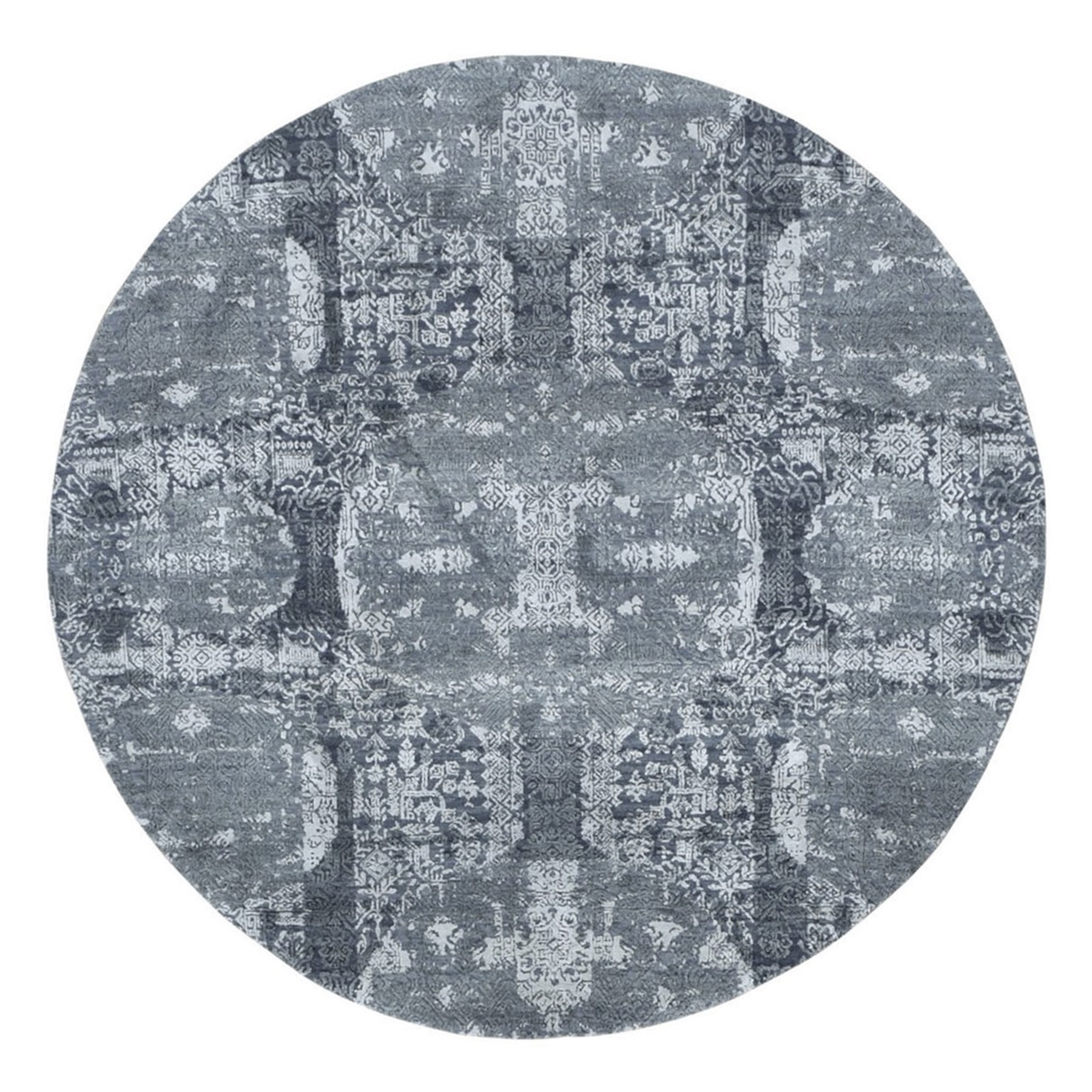 6'X6' Round Gray Wool And Pure Silk Jewellery Design Hand Knotted Oriental Rug moae900b