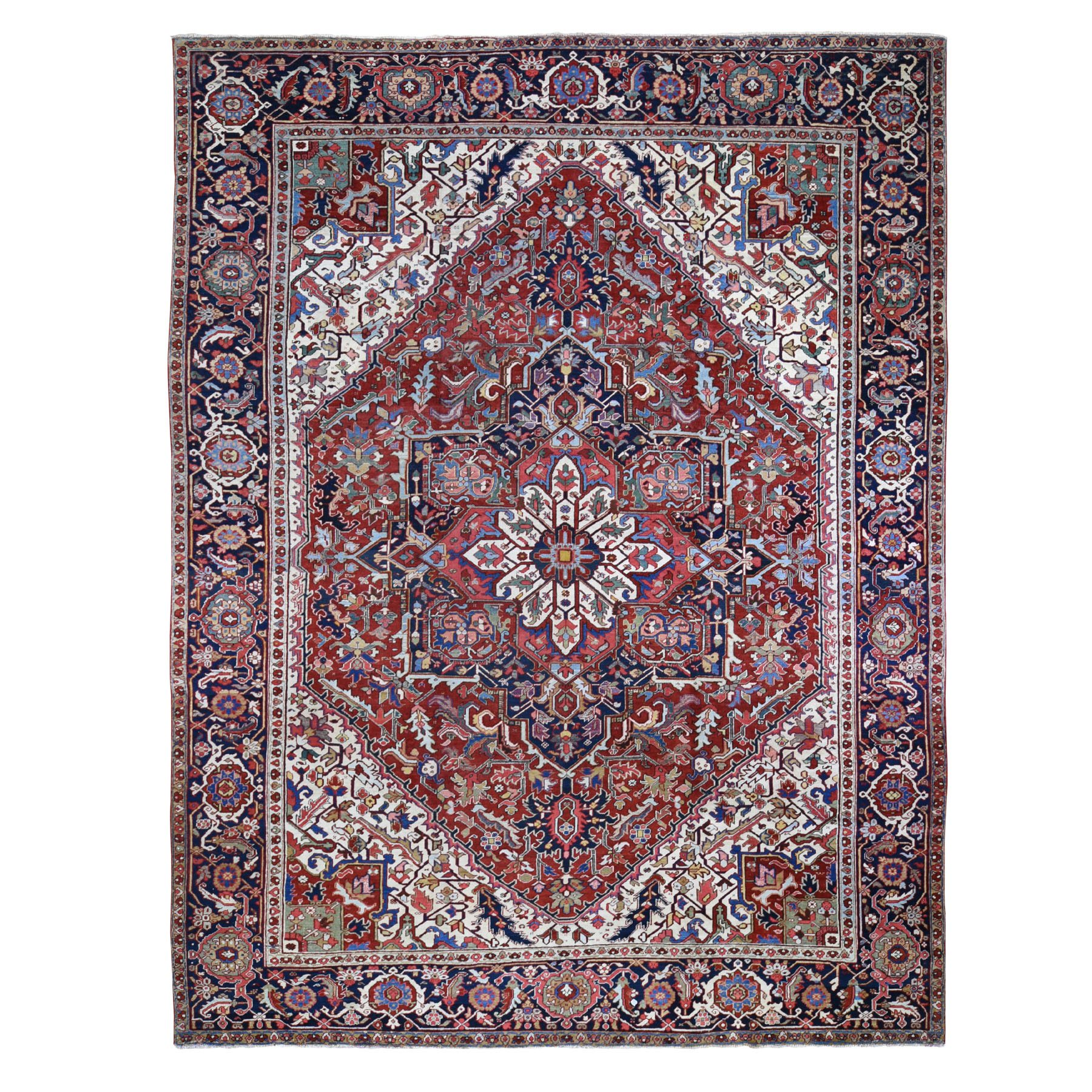 "11'8""X14'9"" Red Oversized Antique Persian Heriz Even Wear Pure Wool Bohemian Rug moae900e"