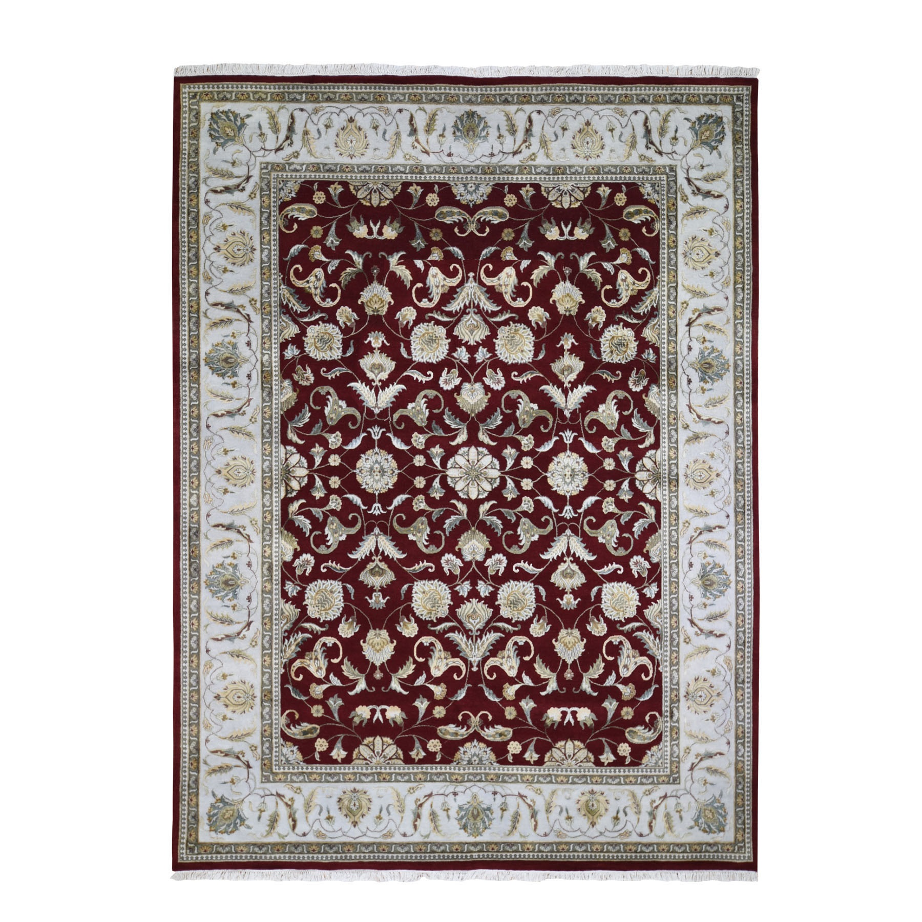 """9'X12'3"""" Burgundy Half Wool And Half Silk Rajasthan Thick And Plush Hand Knotted Oriental Rug moae90ac"""