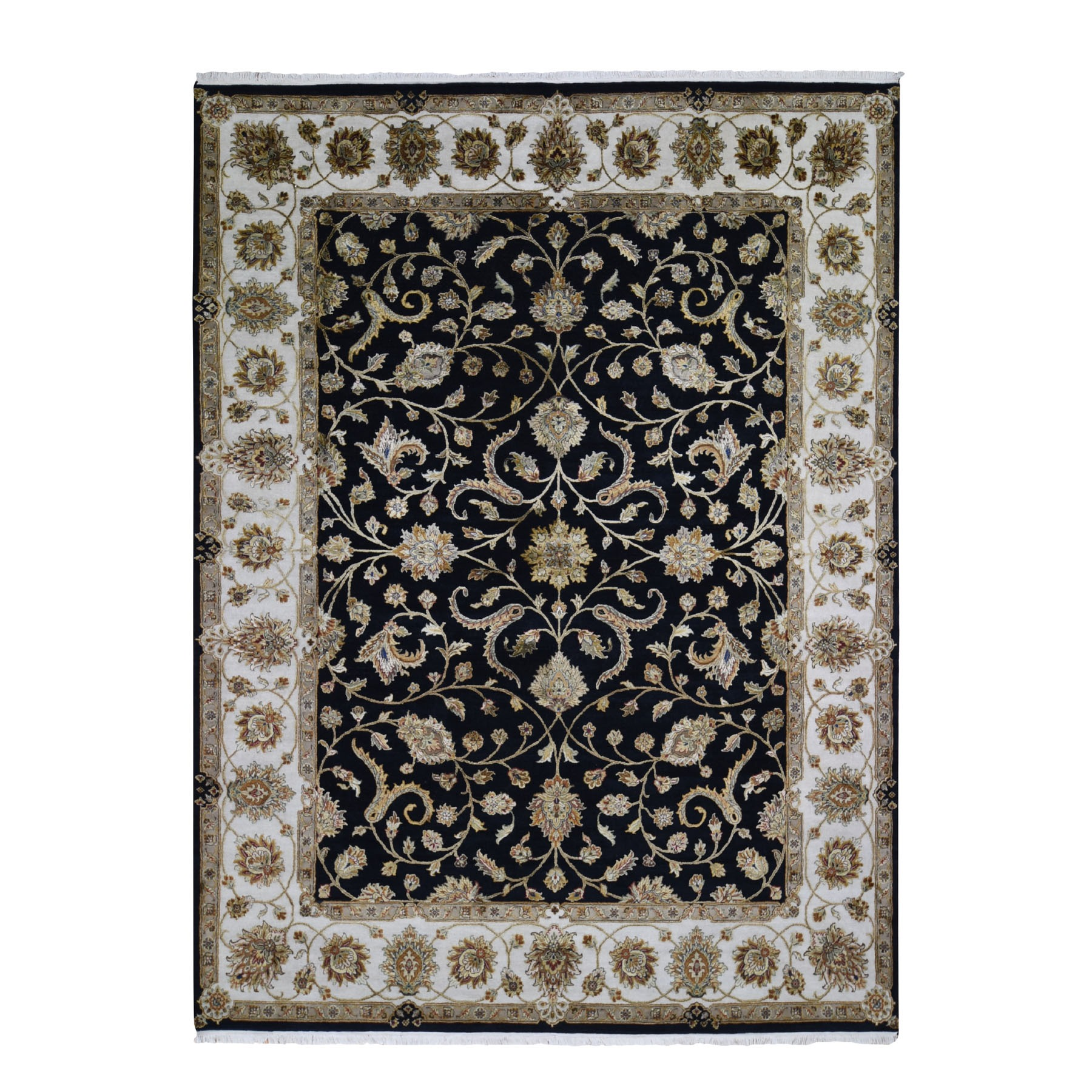 "9'1""X12' Half Wool And Half Silk Black Rajasthan Hand Knotted Oriental Rug moae90ae"