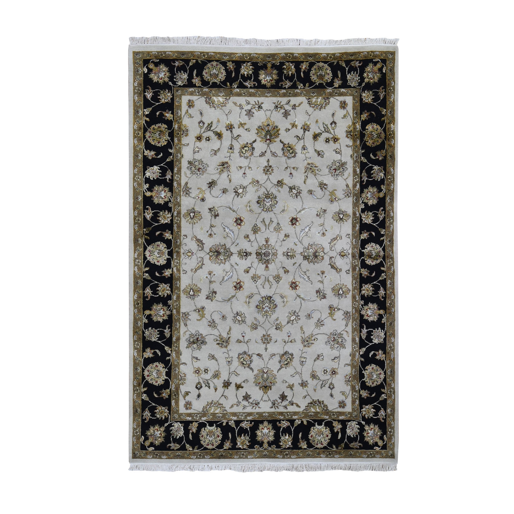 """6'X9'3"""" Black Half Wool And Half Silk Thick And Plush Rajasthan Hand Knotted Oriental Rug moae90a6"""