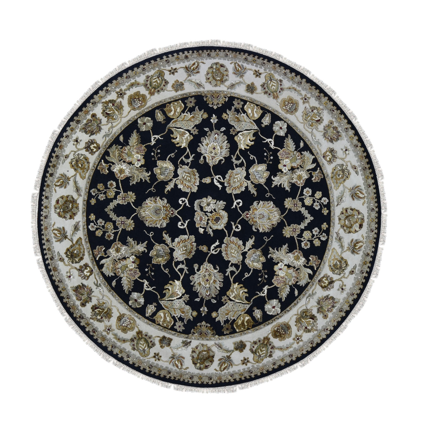 "8'2""X8'2"" Round Half Wool And Half Silk Black Rajasthan Hand Knotted Oriental Rug moae90a7"