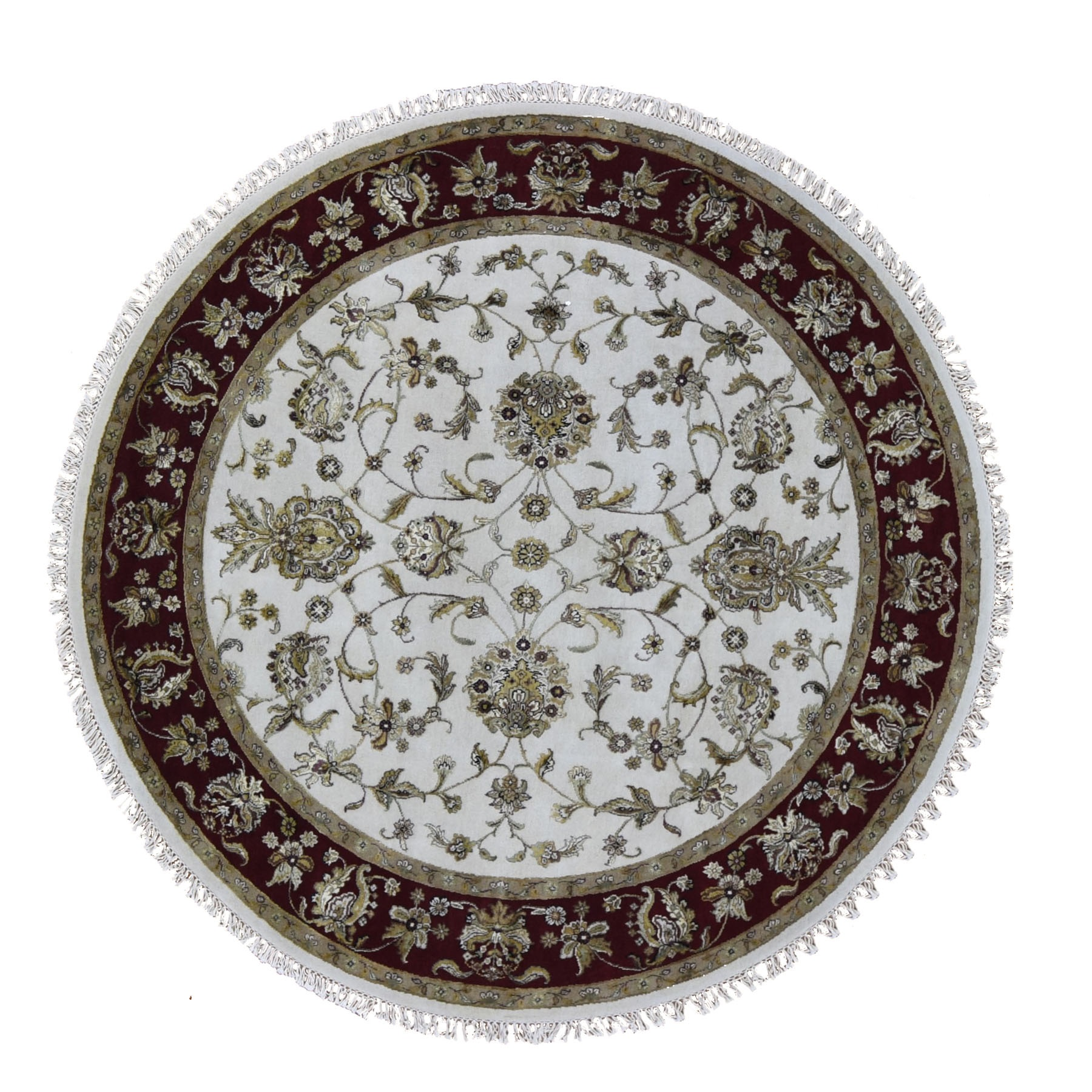 """7'2""""X7'2"""" Round Hand Knotted Half Wool And Half Silk Rajasthan Thick And Plush Oriental Rug moae90a8"""