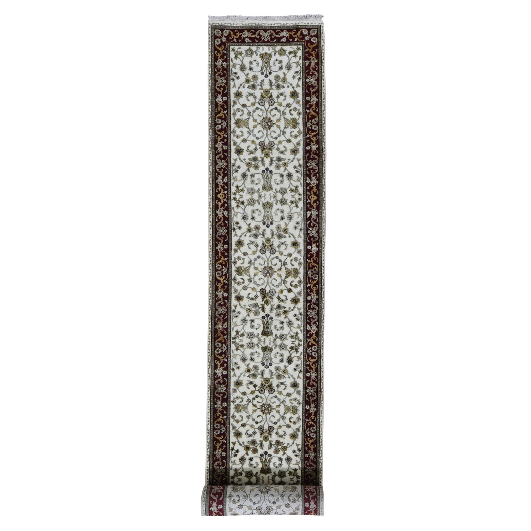 "2'8""X17' Ivory Hand Knotted Half Wool And Half Silk Rajasthan Xl Runner Oriental Rug moae90ba"