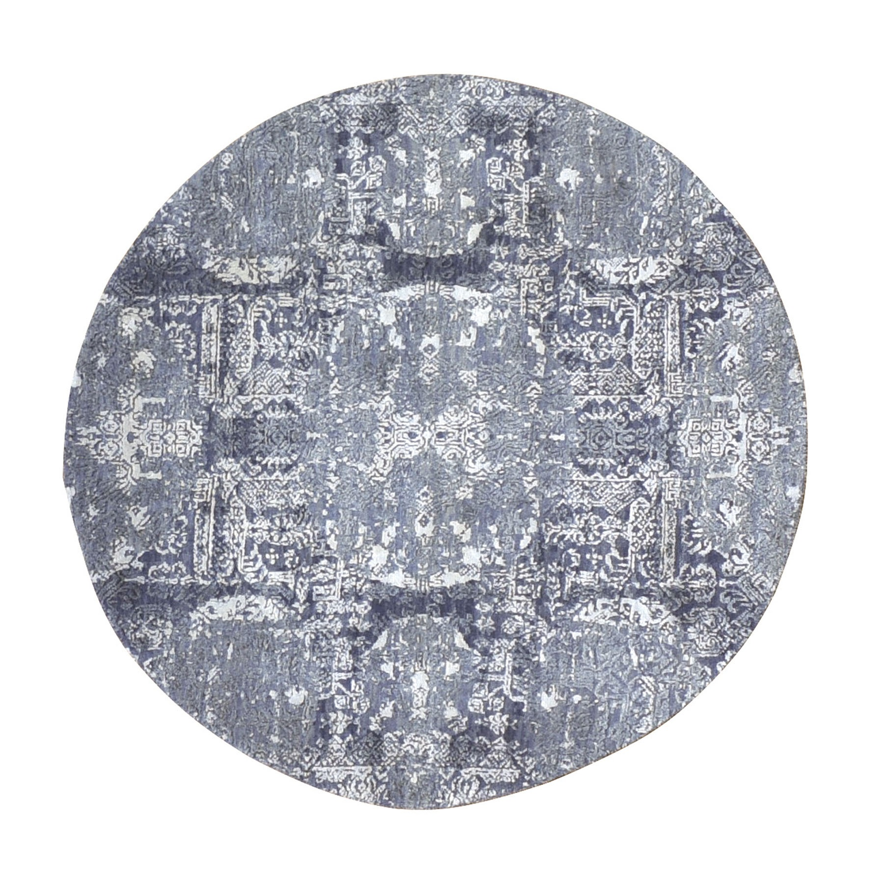 4'X4' Round Gray Wool And Pure Silk Jewellery Design Hand Knotted Oriental Rug moae90be