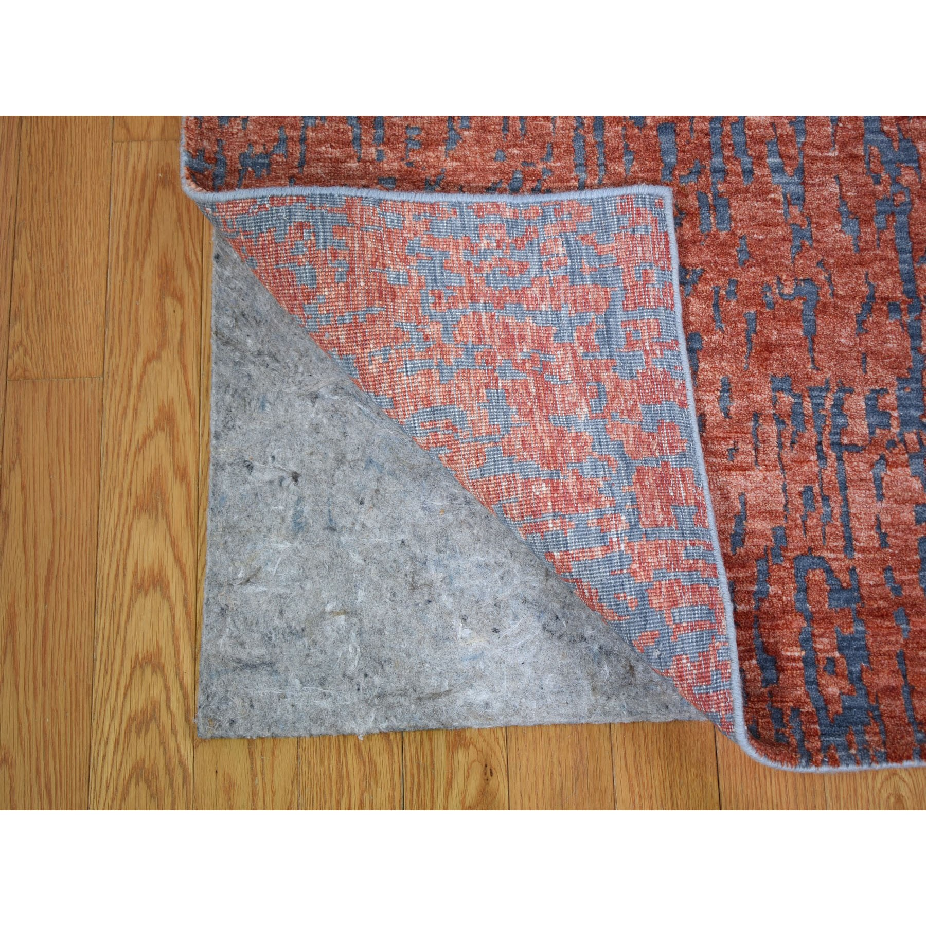 9'x12' Wool And Silk Hi-Low Pile Modern Hand Knotted Oriental Rug