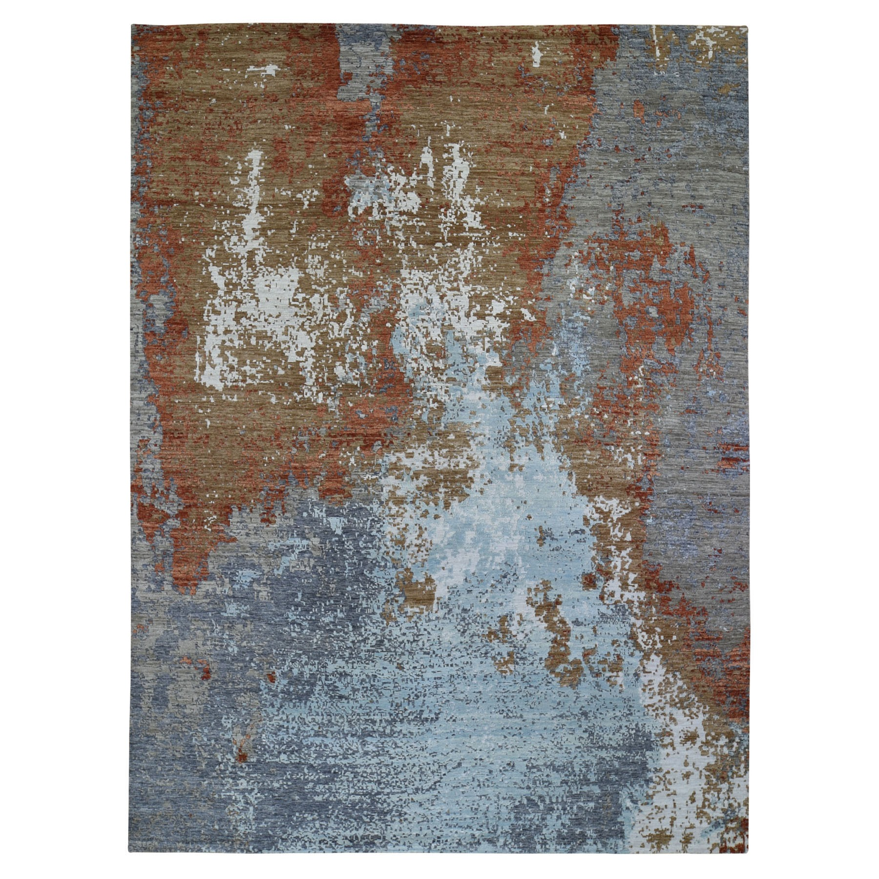 9'X12' Terracotta Abstract Design Wool And Silk Hi-Low Pile Denser Weave Hand Knotted Oriental Rug moae90cb