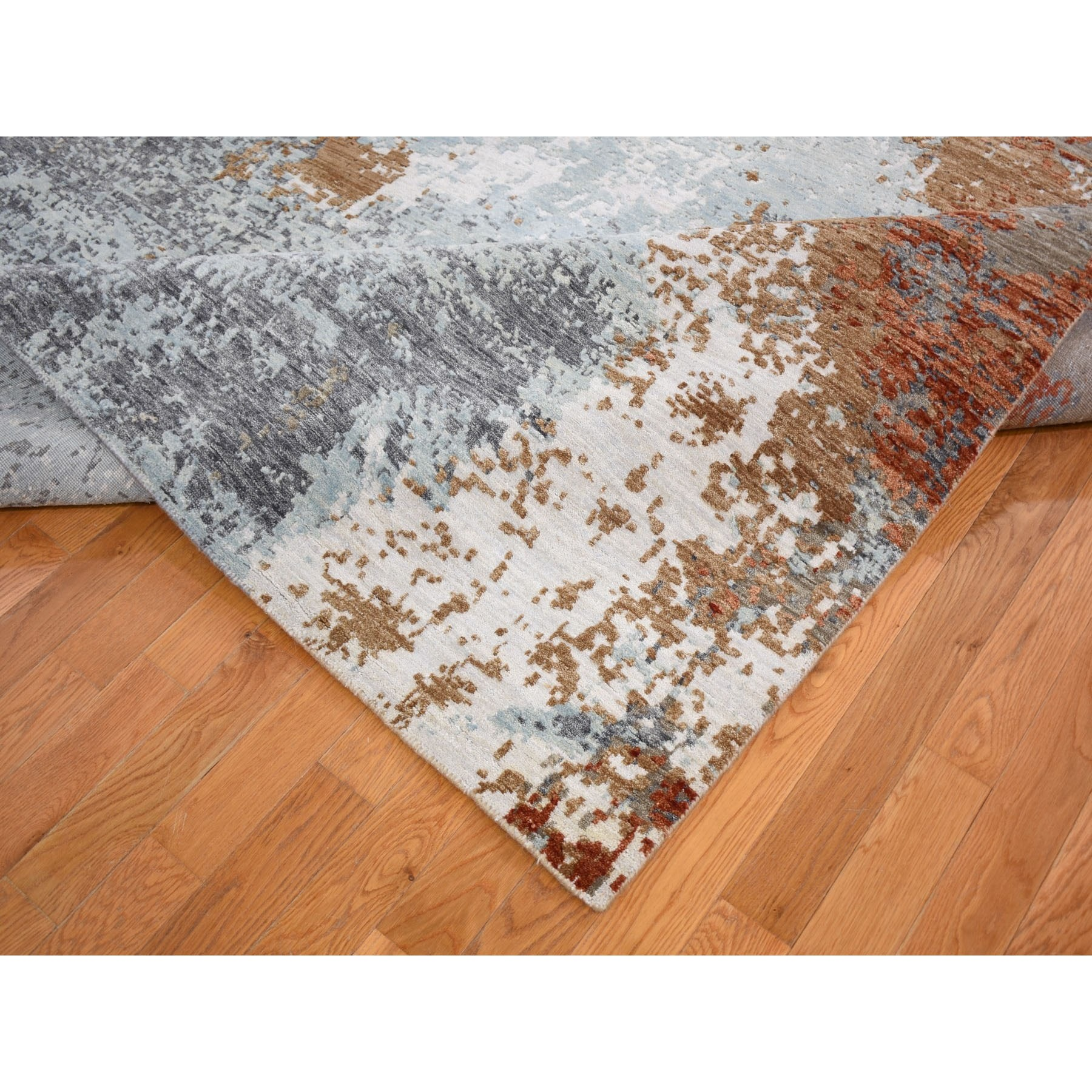 9'x12' Terracotta Abstract Design Wool And Silk Hi-Low Pile Denser Weave Hand Knotted Oriental Rug
