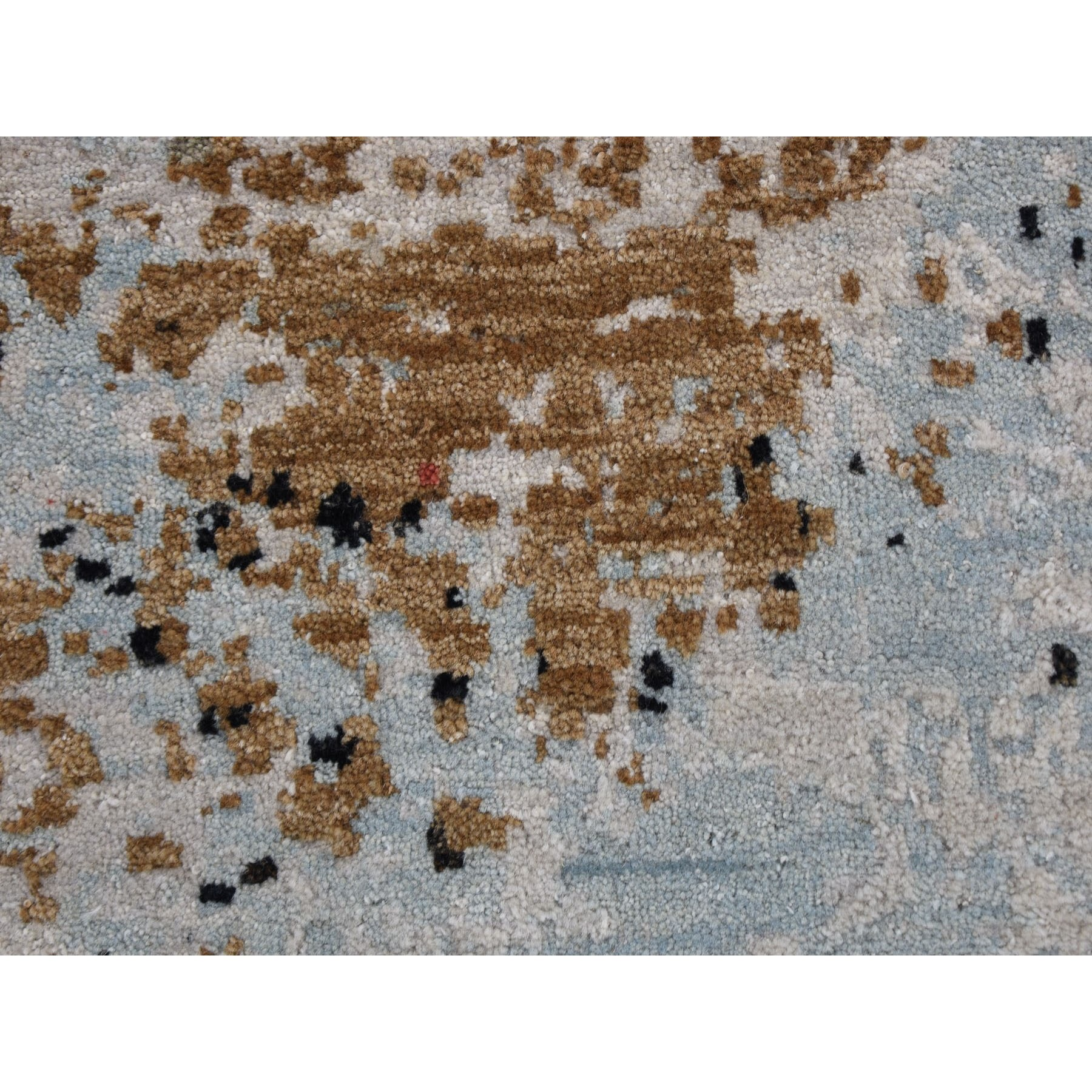8'x10' Abstract Design Wool And Silk Hi-Low Pile Denser Weave Hand Knotted Oriental Rug