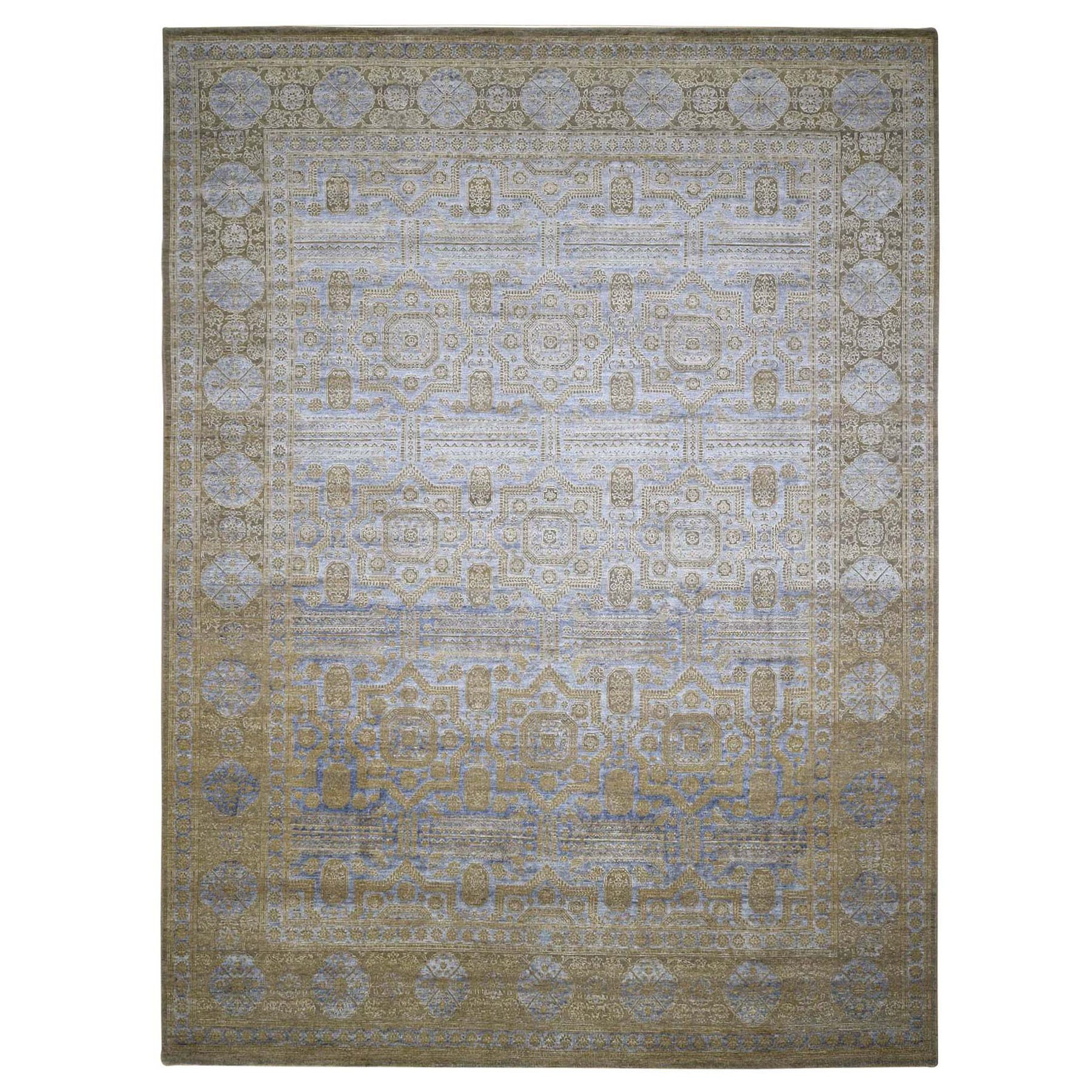 "9'1""x12' Mamluk Design Silk With Textured Wool Hand Knotted Oriental Rug"